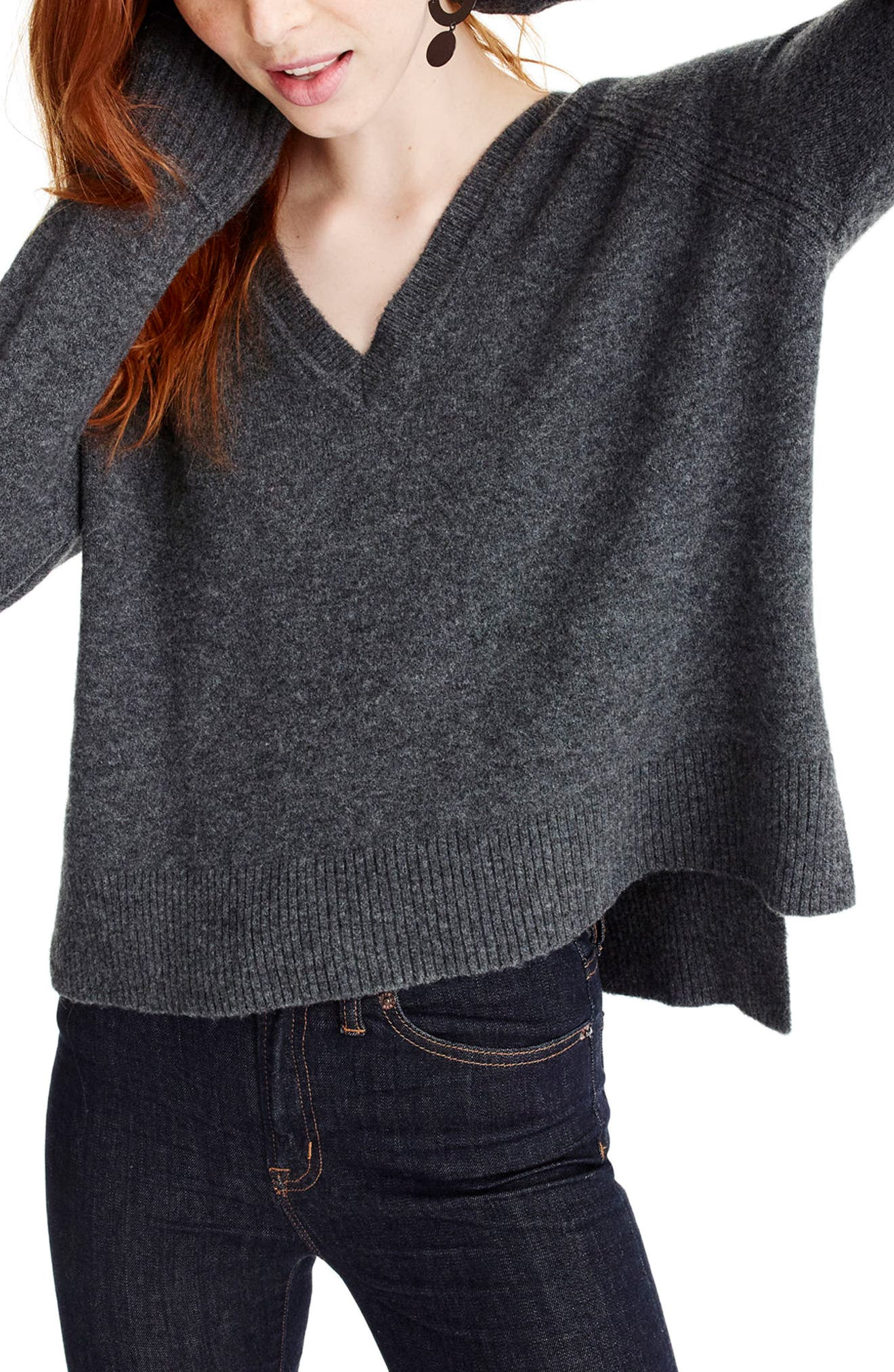 J.Crew Supersoft Yarn V-Neck Sweater,                             Main thumbnail 1, color,                             Heather Carbon