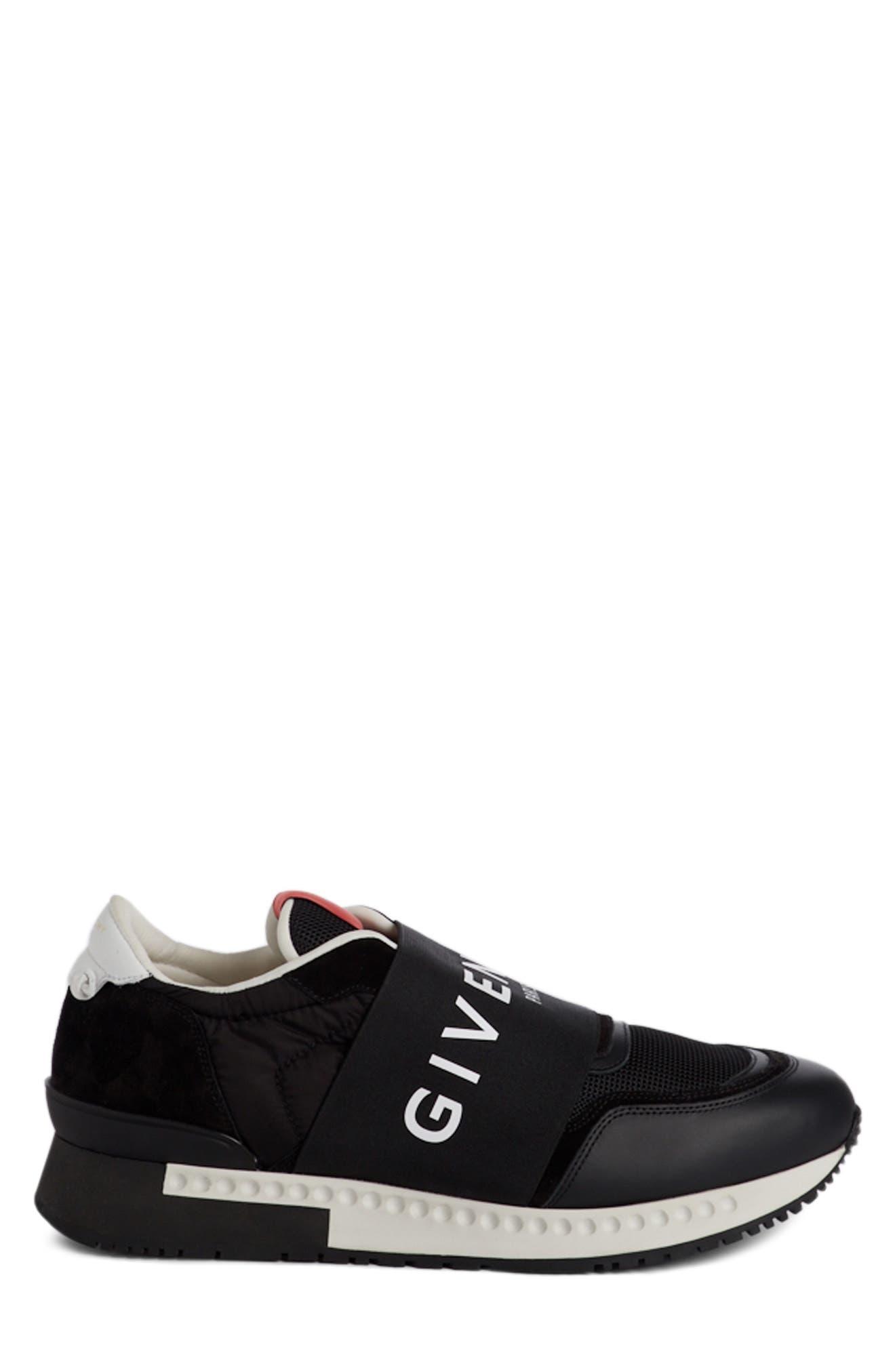 Logo Elastic Laceless Sneaker,                             Alternate thumbnail 3, color,                             Black