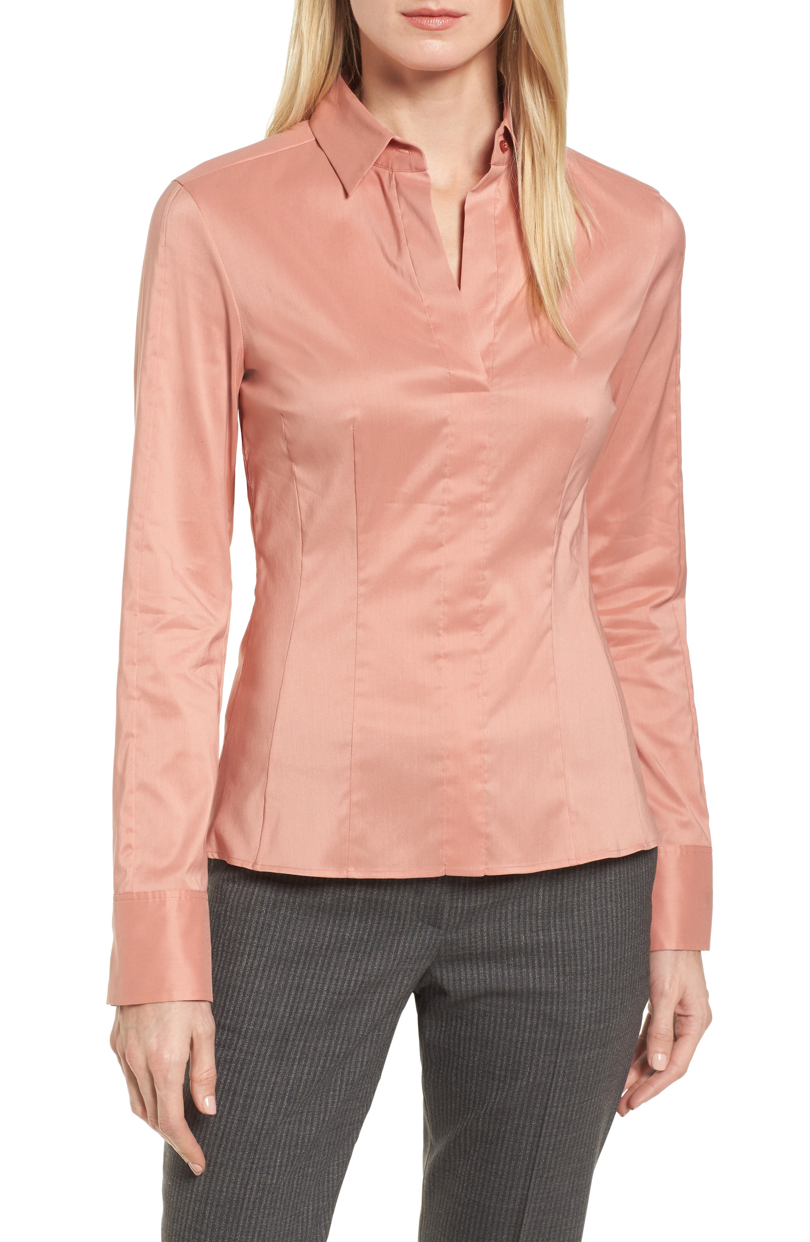 Bashina Fitted Stretch Poplin Shirt,                         Main,                         color, Sand Rose