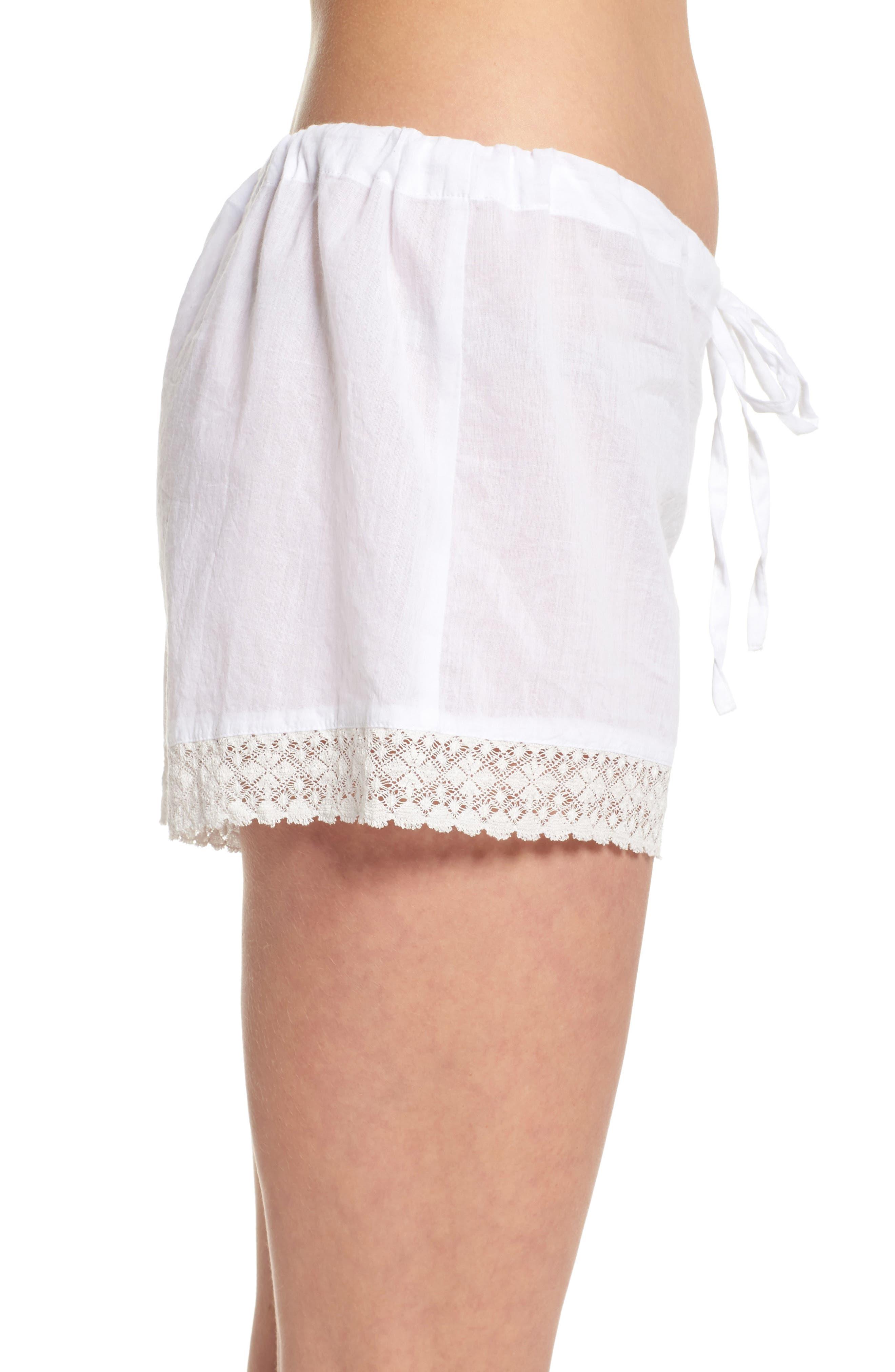 Lace Trim Sleep Shorts,                             Alternate thumbnail 3, color,                             White