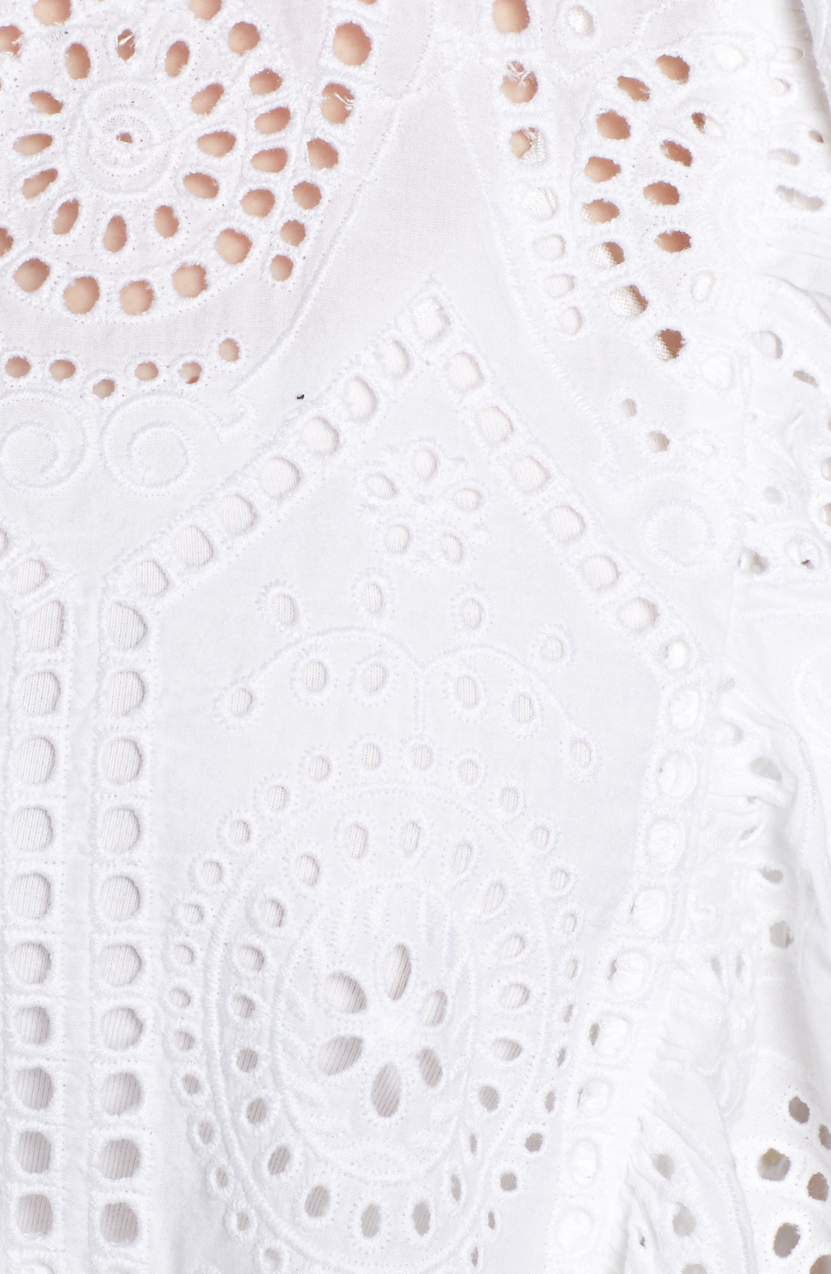 Ruffle Cotton Eyelet Top,                             Alternate thumbnail 5, color,                             White