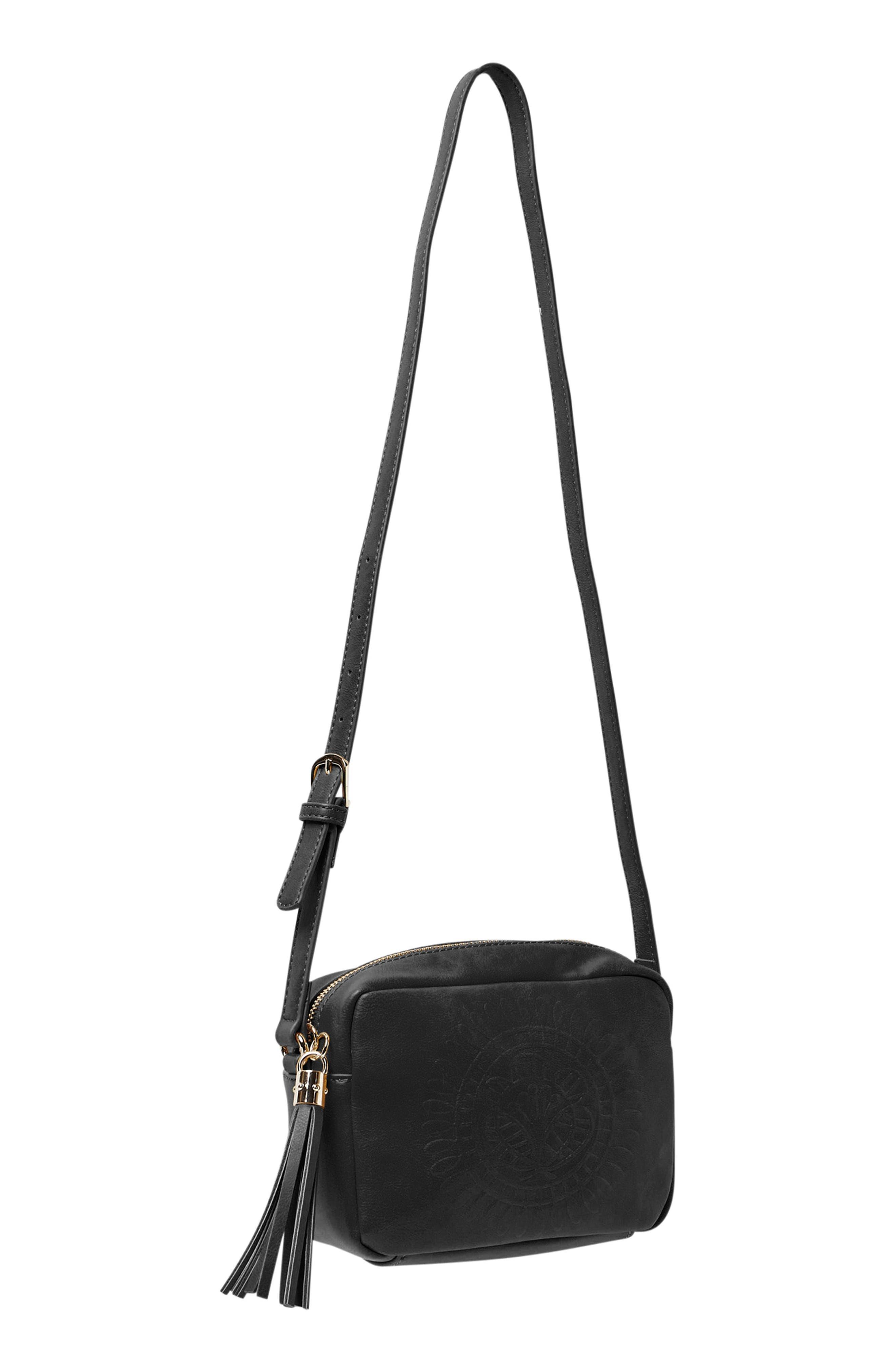 Wild Rose Embossed Vegan Leather Shoulder Bag,                             Alternate thumbnail 2, color,                             Black