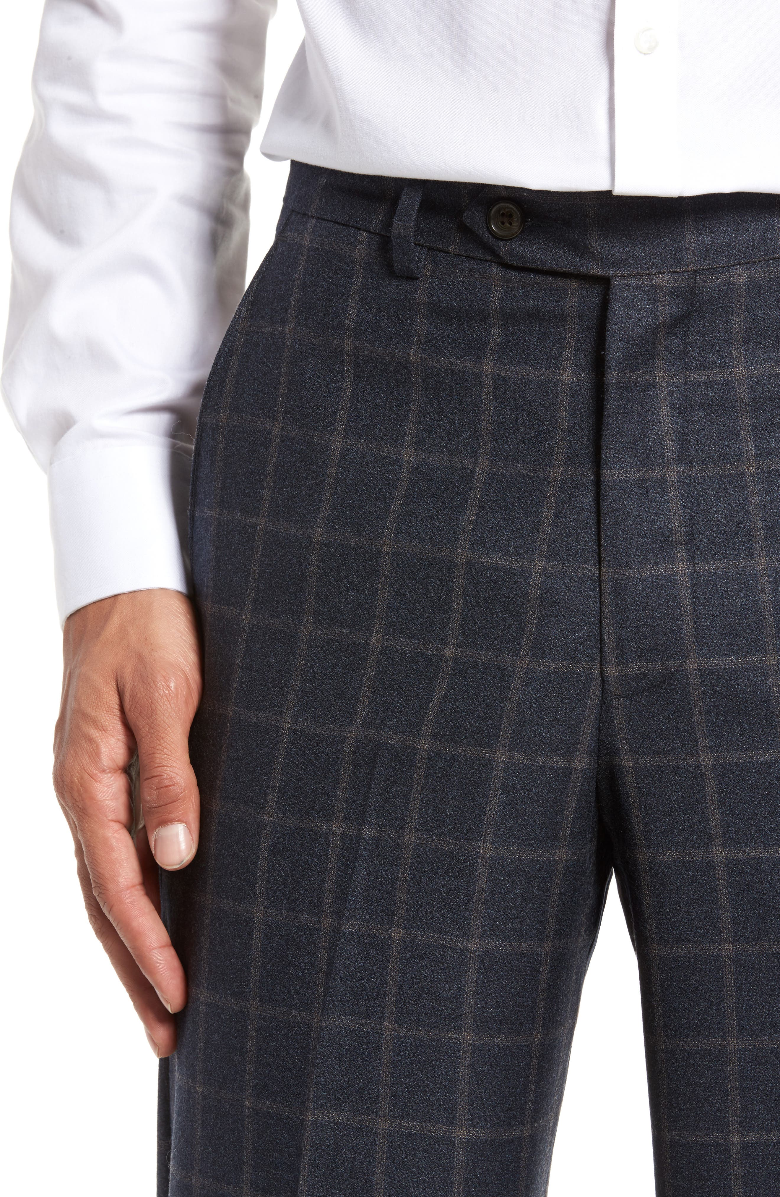 Flat Front Windowpane Wool Trousers,                             Alternate thumbnail 4, color,                             Blue