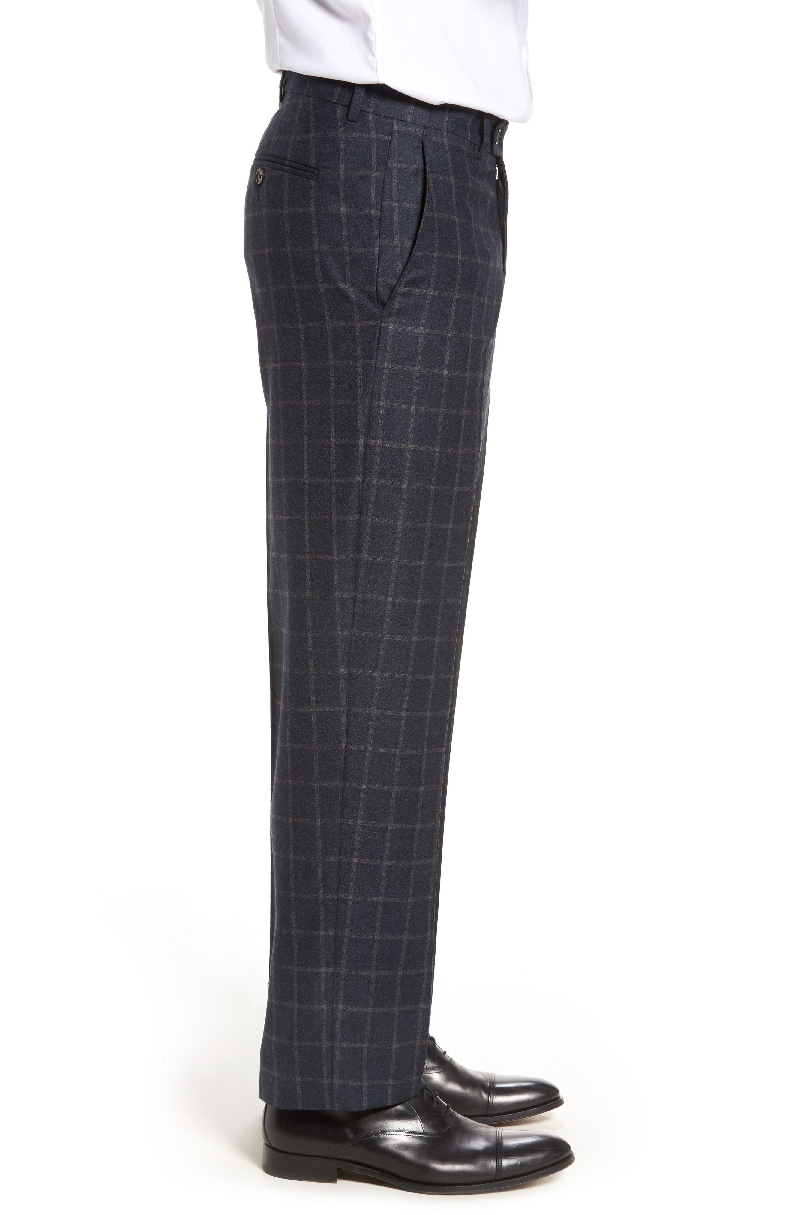 Flat Front Windowpane Wool Trousers,                             Alternate thumbnail 3, color,                             Blue