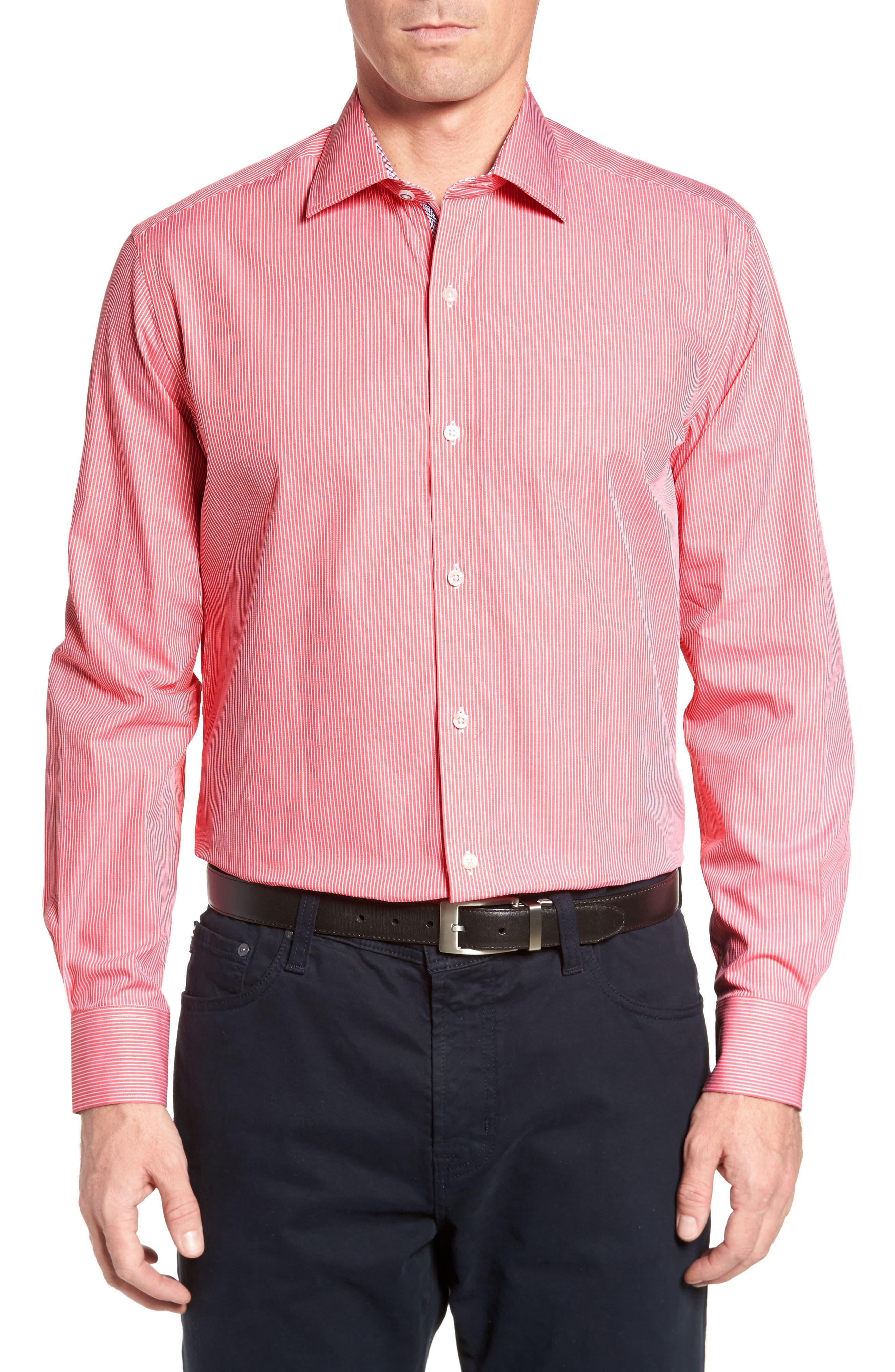 Oaksdale Stripe Sport Shirt,                             Main thumbnail 1, color,                             Coral