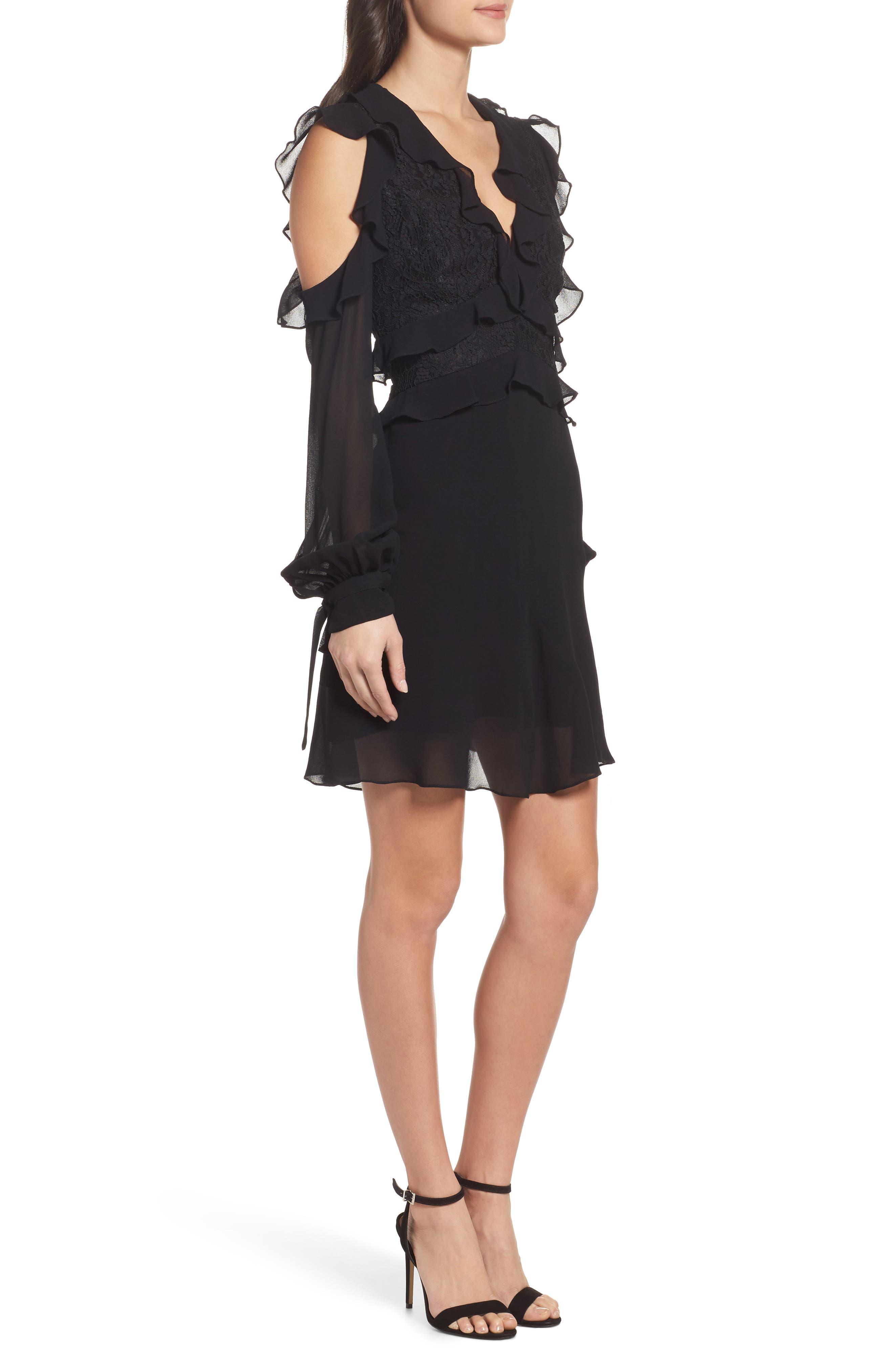 Florentine Cold Shoulder Dress,                             Alternate thumbnail 3, color,                             Black