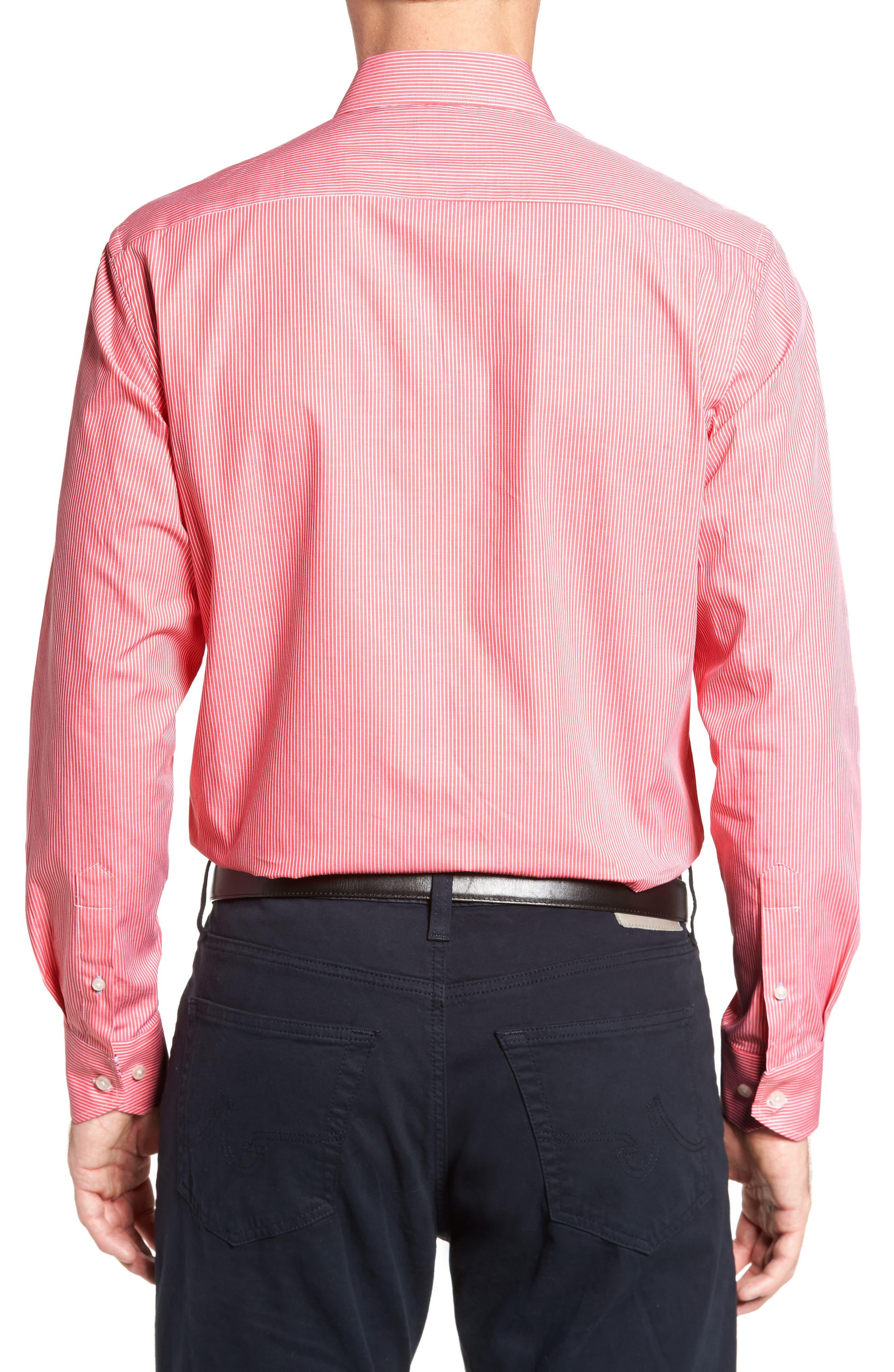 Oaksdale Stripe Sport Shirt,                             Alternate thumbnail 2, color,                             Coral