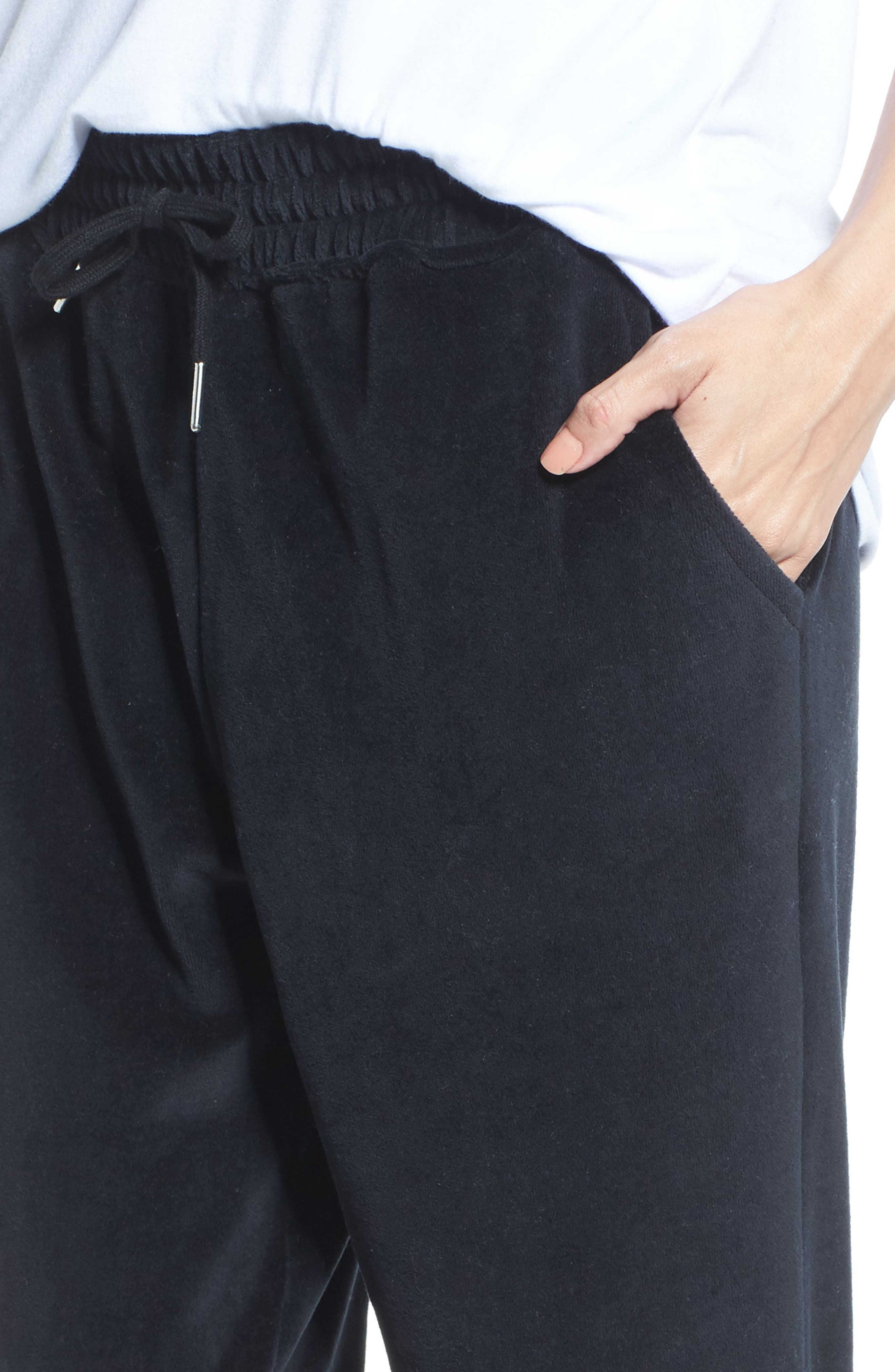 Blonde Embroidered Velour Jogger Pants,                             Alternate thumbnail 6, color,                             Black