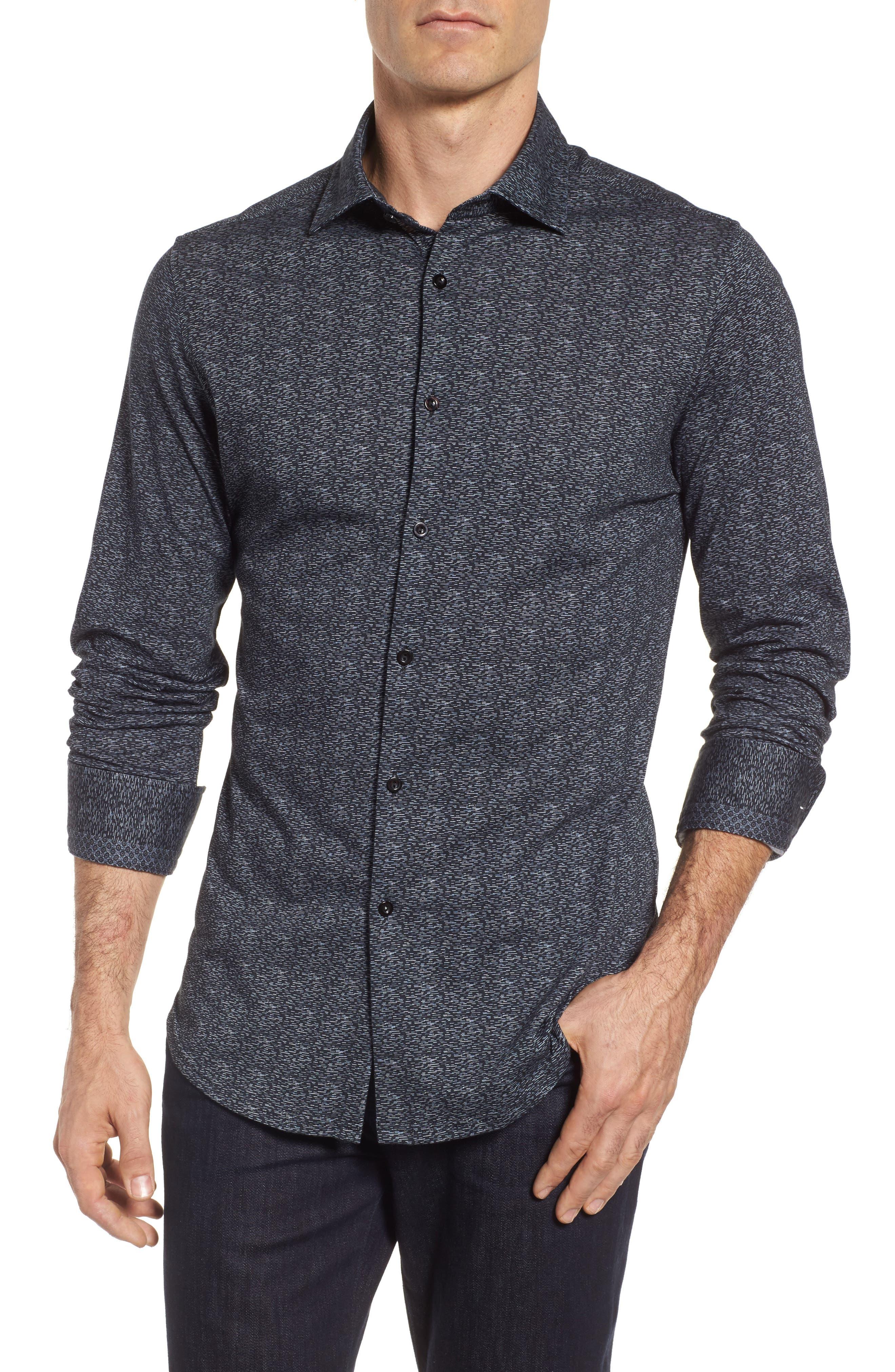 Mélange Knit Sport Shirt,                         Main,                         color, Black