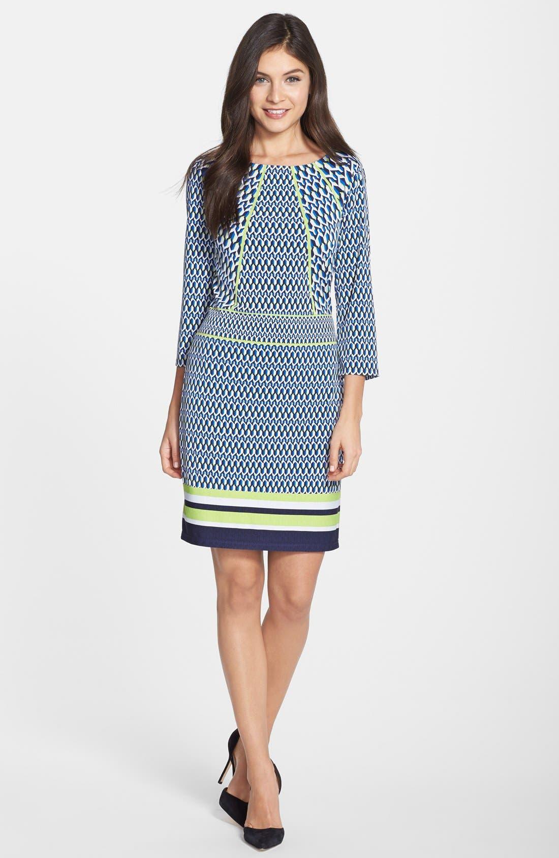 Alternate Image 3  - Laundry by Shelli Segal Print Jersey Sheath Dress (Regular & Petite)