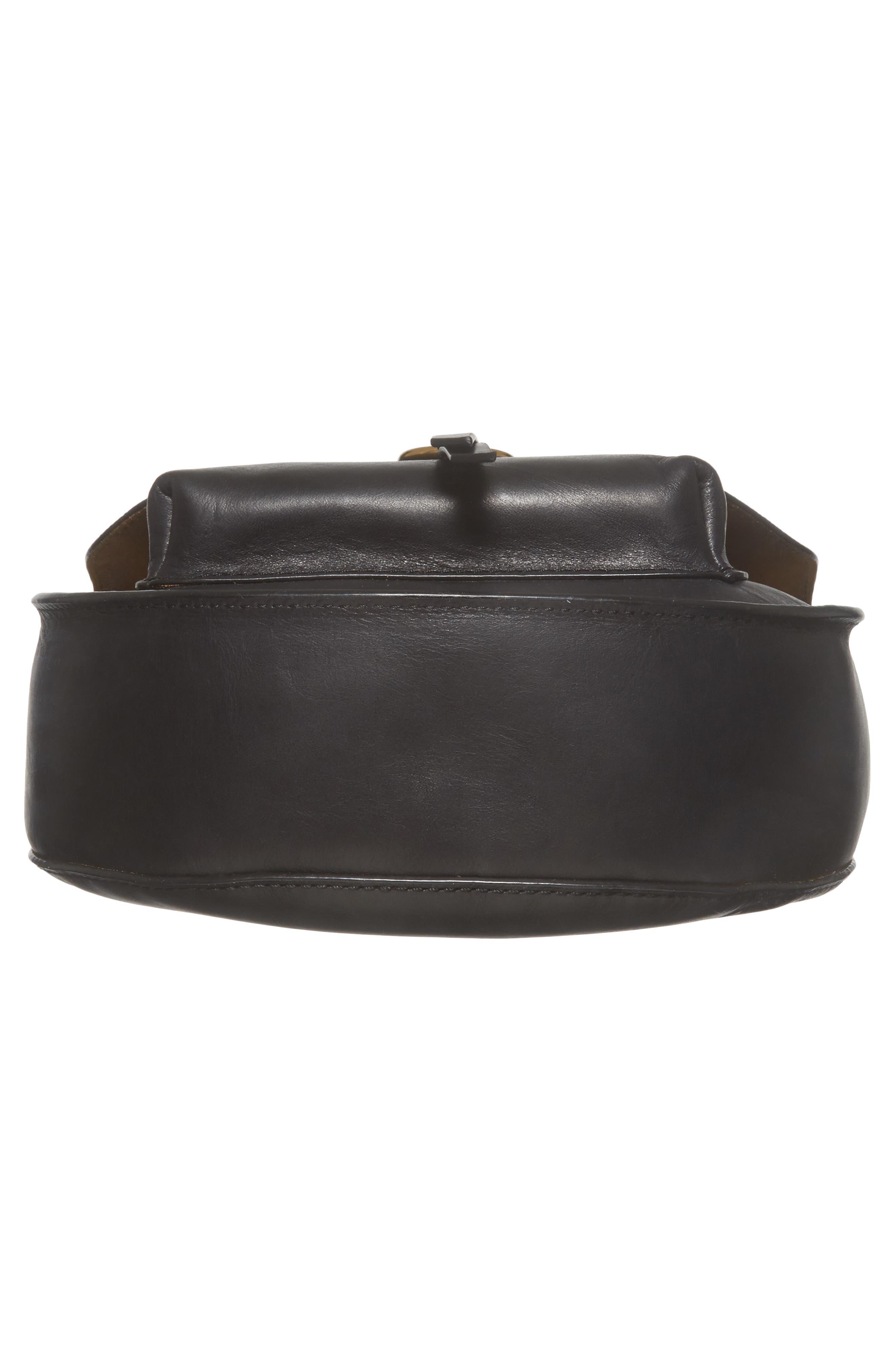 Ilana Leather Saddle Bag,                             Alternate thumbnail 6, color,                             Black