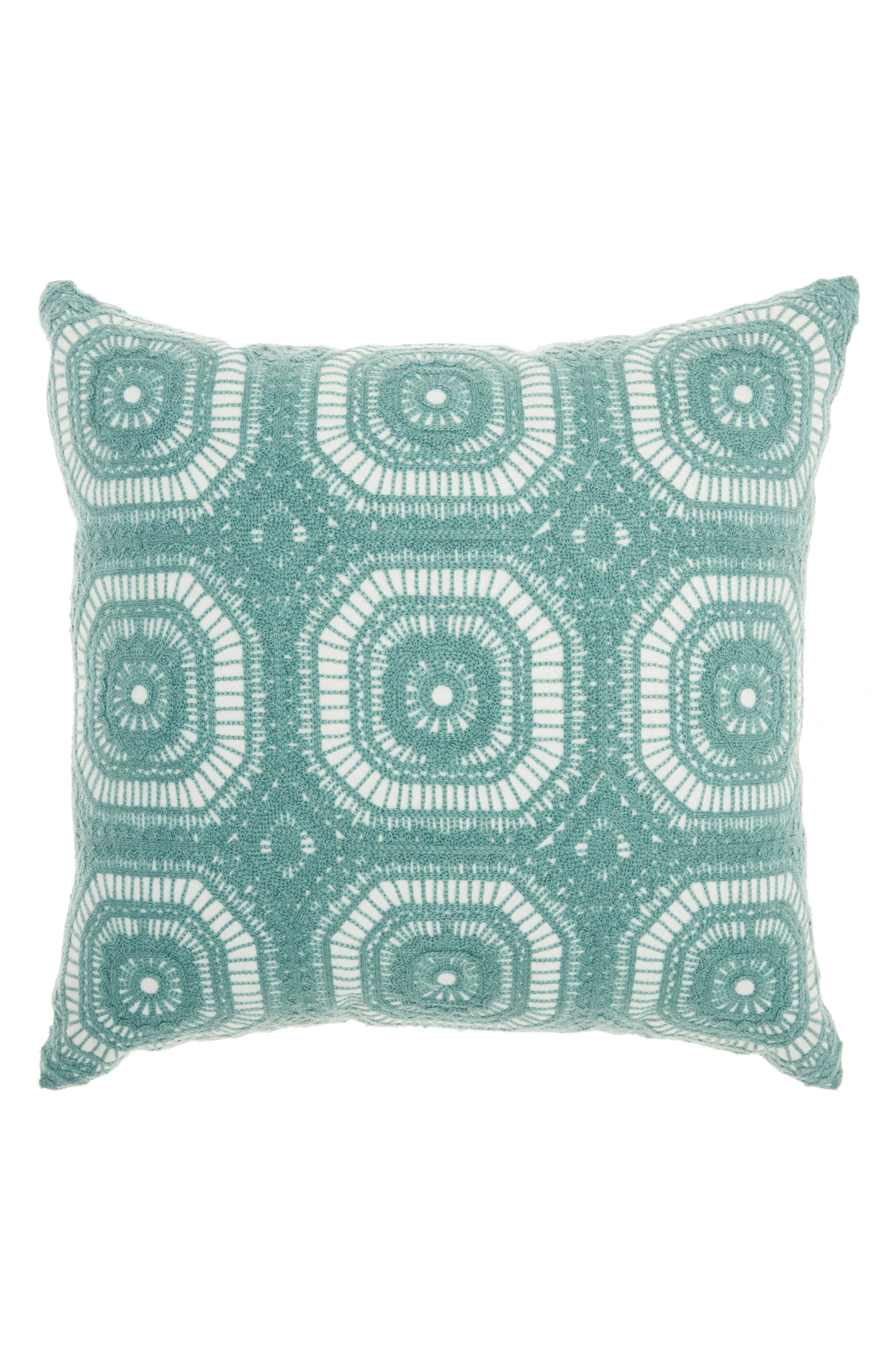 Tile Embroidered Accent Pillow,                             Main thumbnail 1, color,                             Celadon