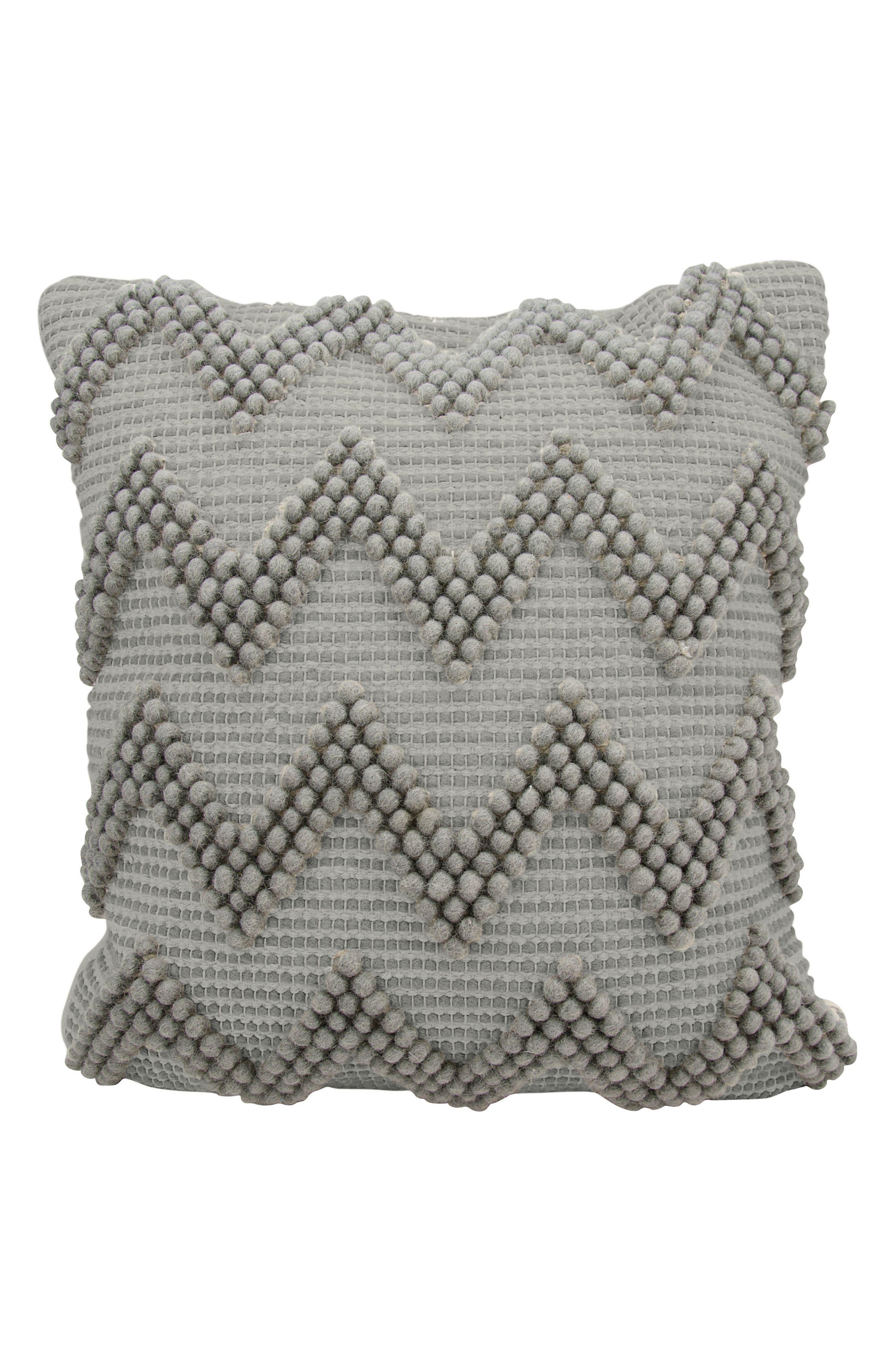Chevron Pom Accent Pillow,                             Main thumbnail 1, color,                             Light Grey