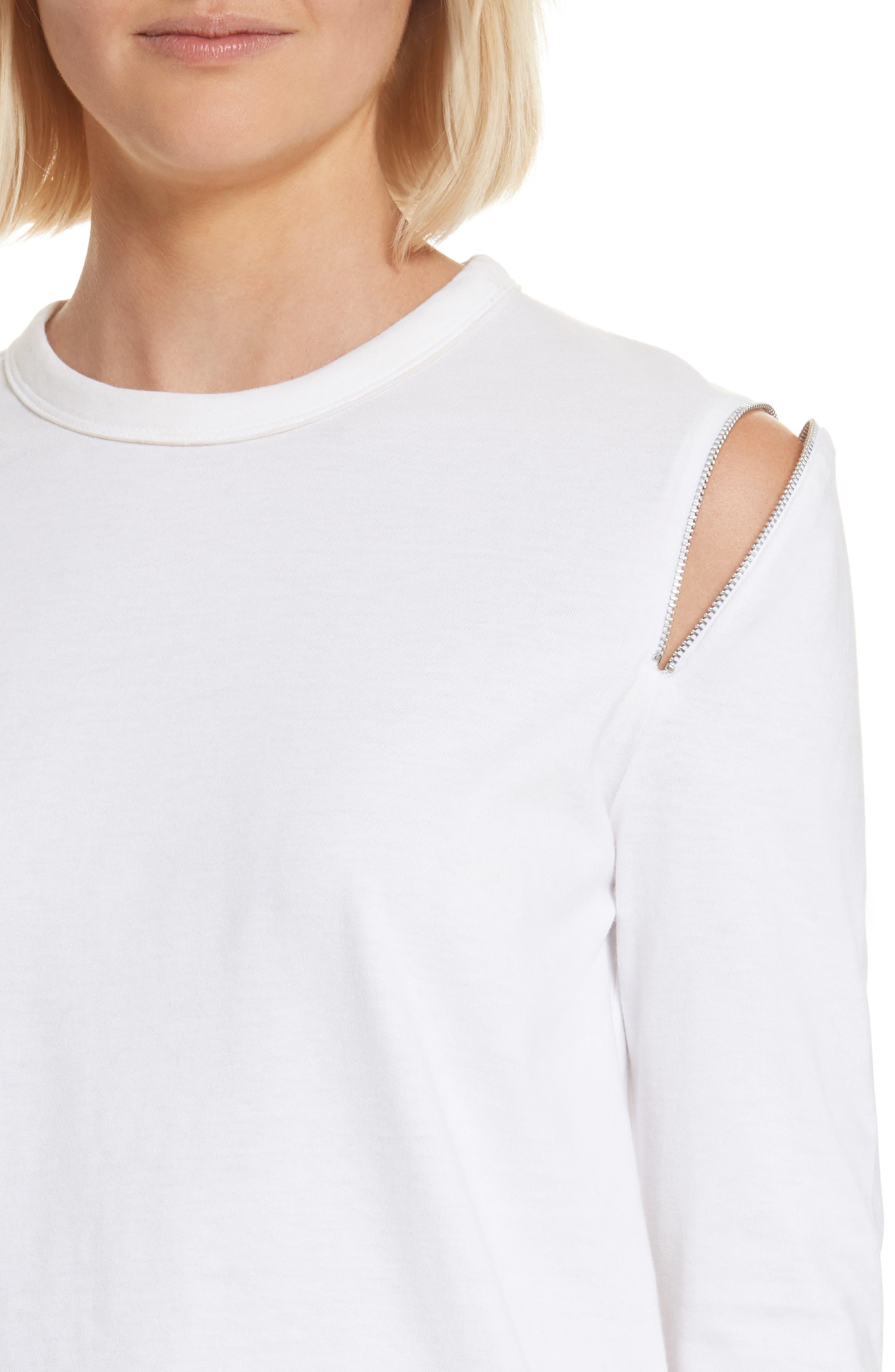 Zip Shoulder Long Sleeve Tee,                             Alternate thumbnail 4, color,                             White