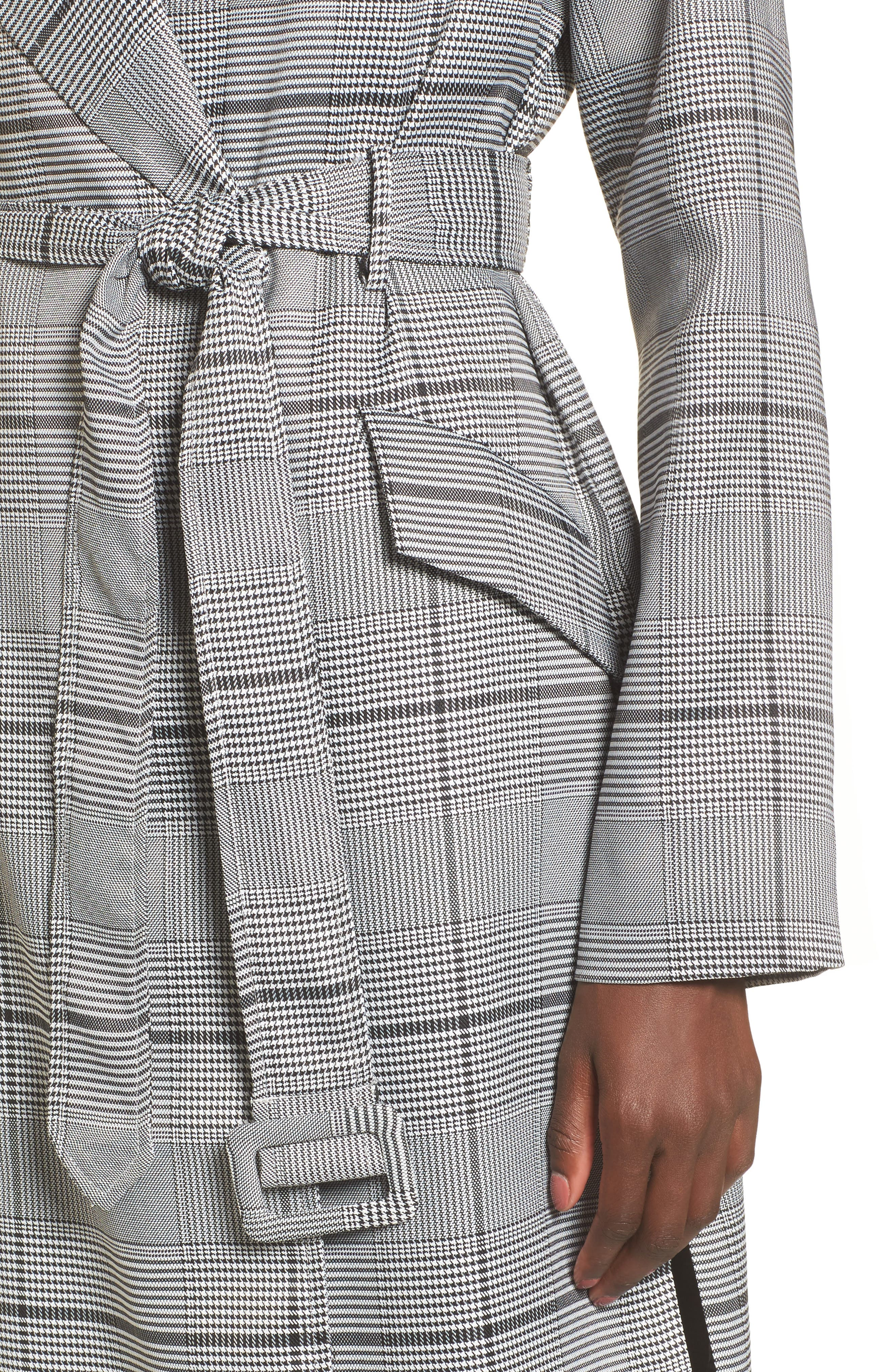 Plaid Menswear Coat,                             Alternate thumbnail 4, color,                             Black Plaid