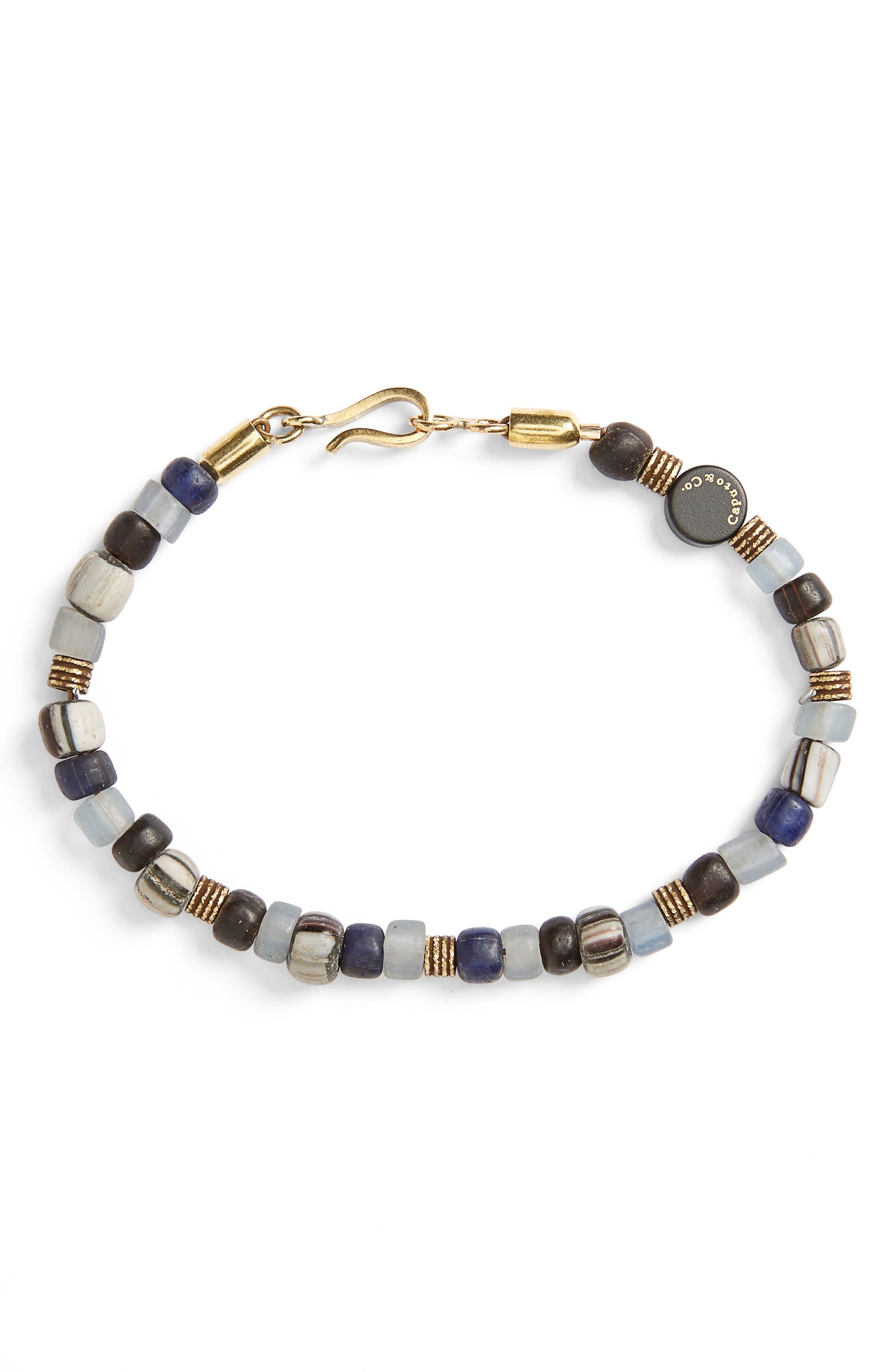 Glass Bead Bracelet,                         Main,                         color, Grey Combo