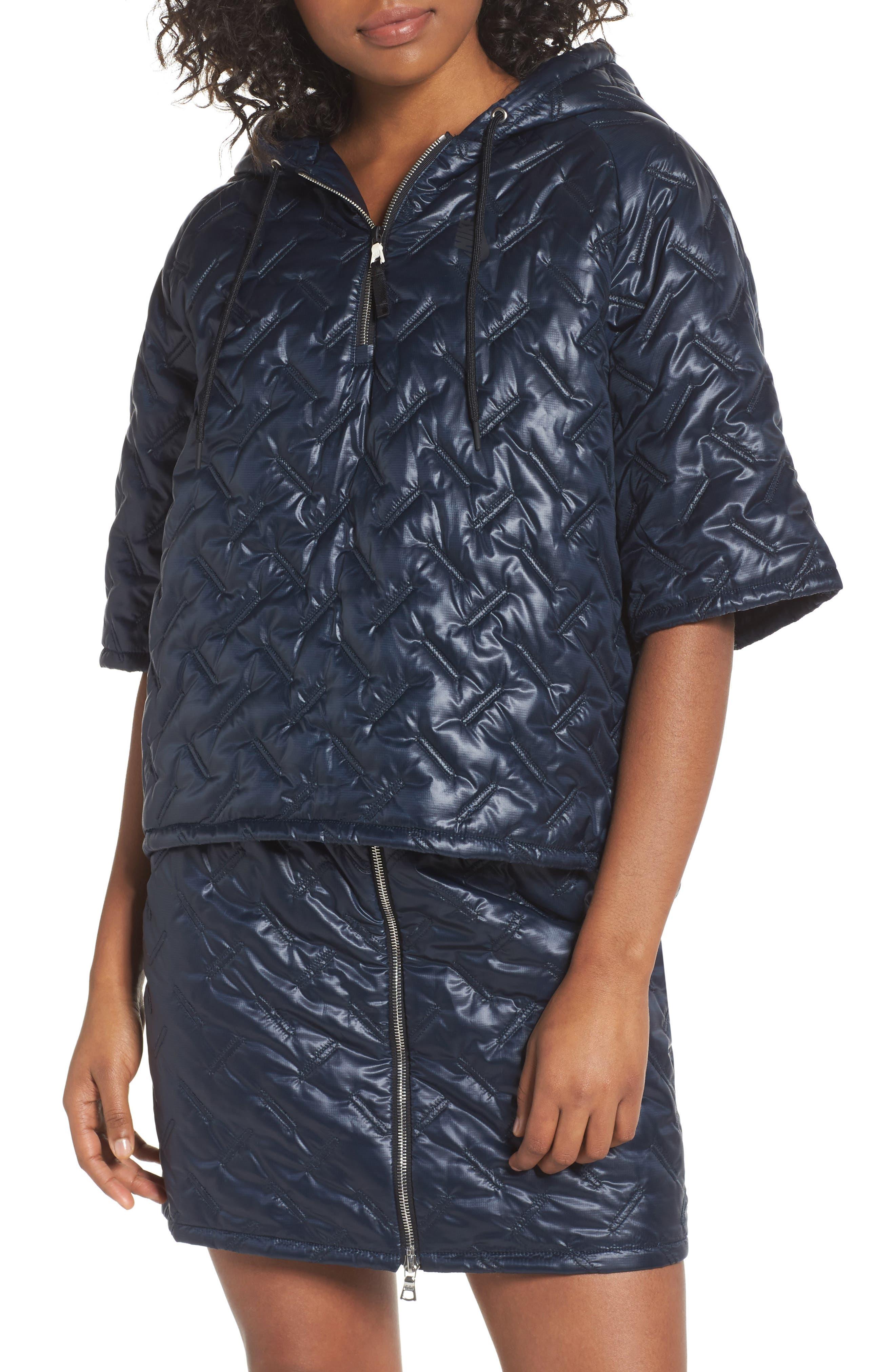 NikeLab Essentials Insulated Short Sleeve Women's Hoodie,                             Alternate thumbnail 13, color,                             Dark Obsidian/ Black