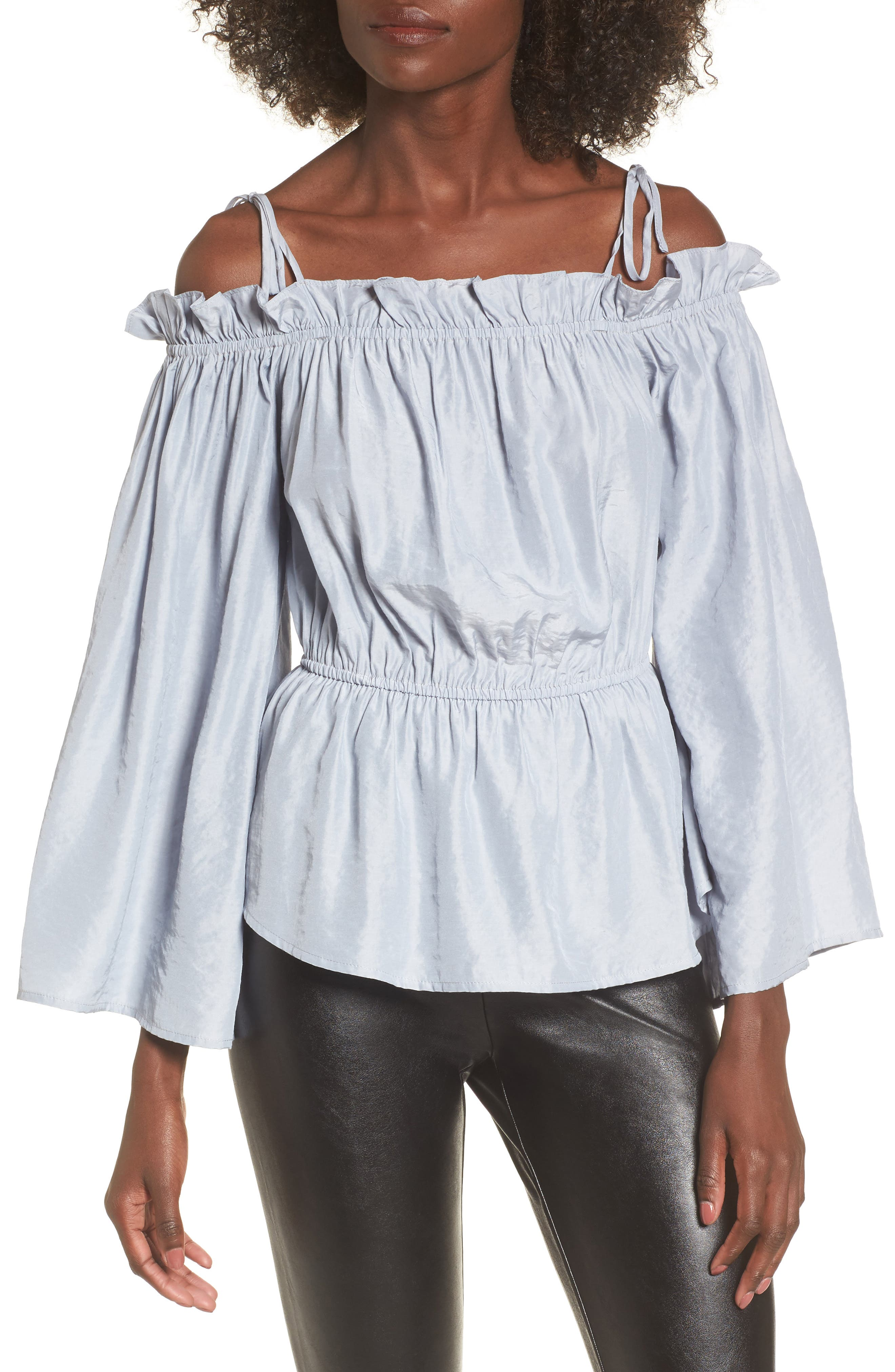 Off the Shoulder Bell Sleeve Blouse,                         Main,                         color, Blue Ice
