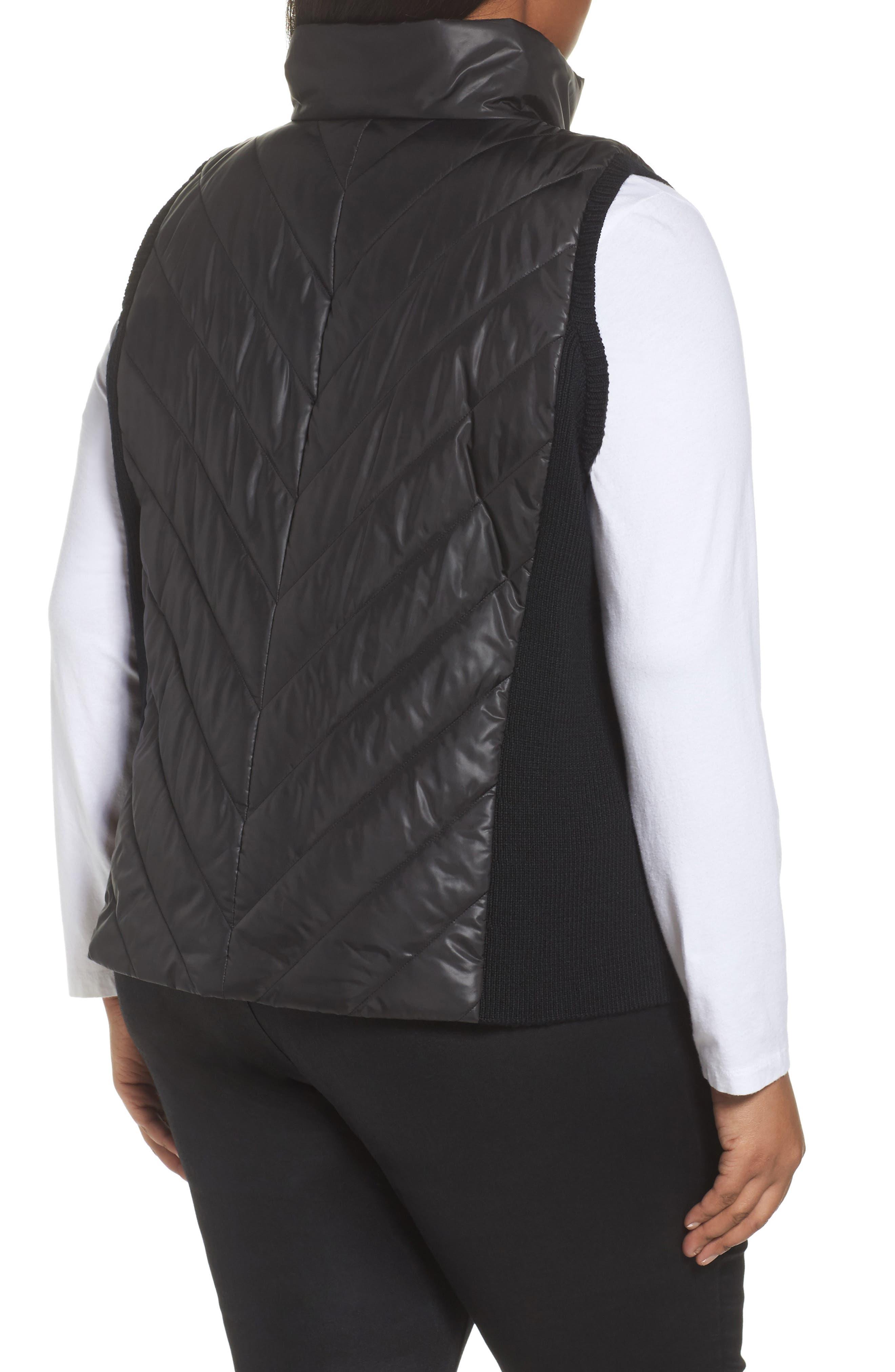 Merino Wool Trim Puffer Vest,                             Alternate thumbnail 2, color,                             Black