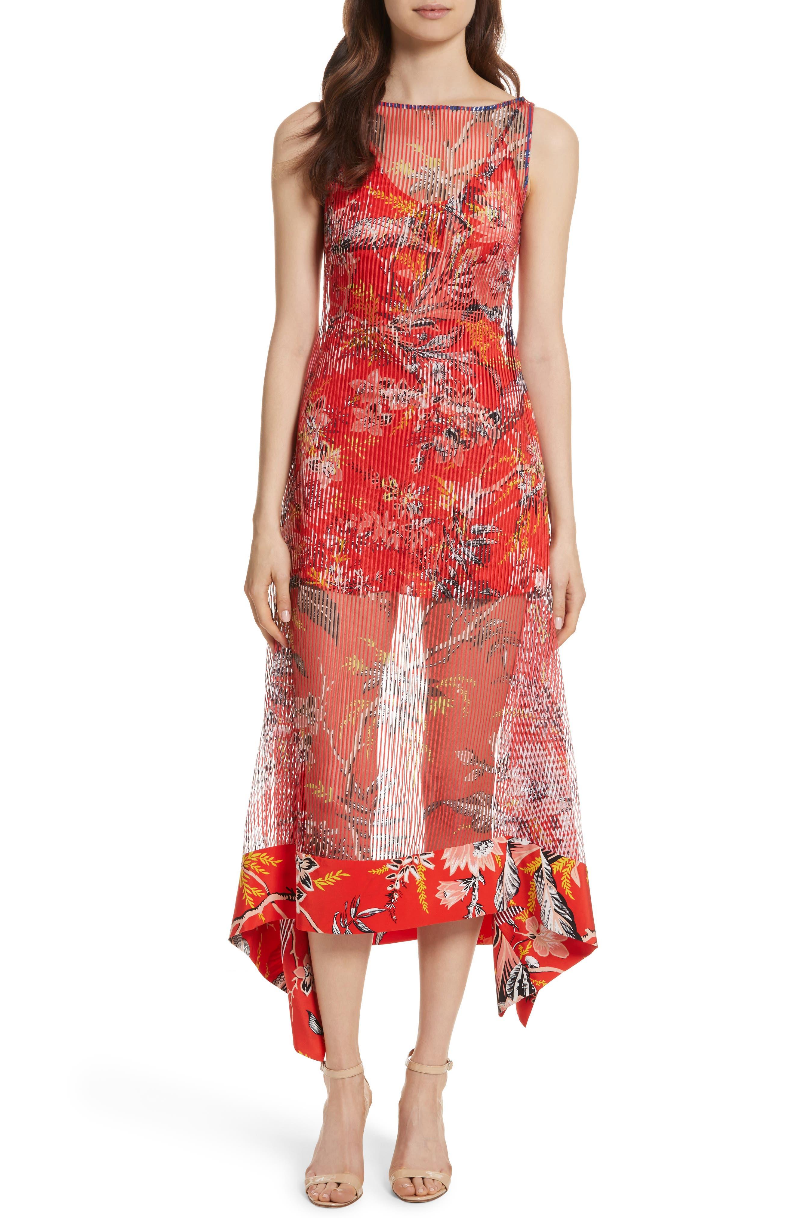 Diane von Furstenberg Floral Boat Neck Chiffon Midi Dress,                         Main,                         color, Avalon Poppy