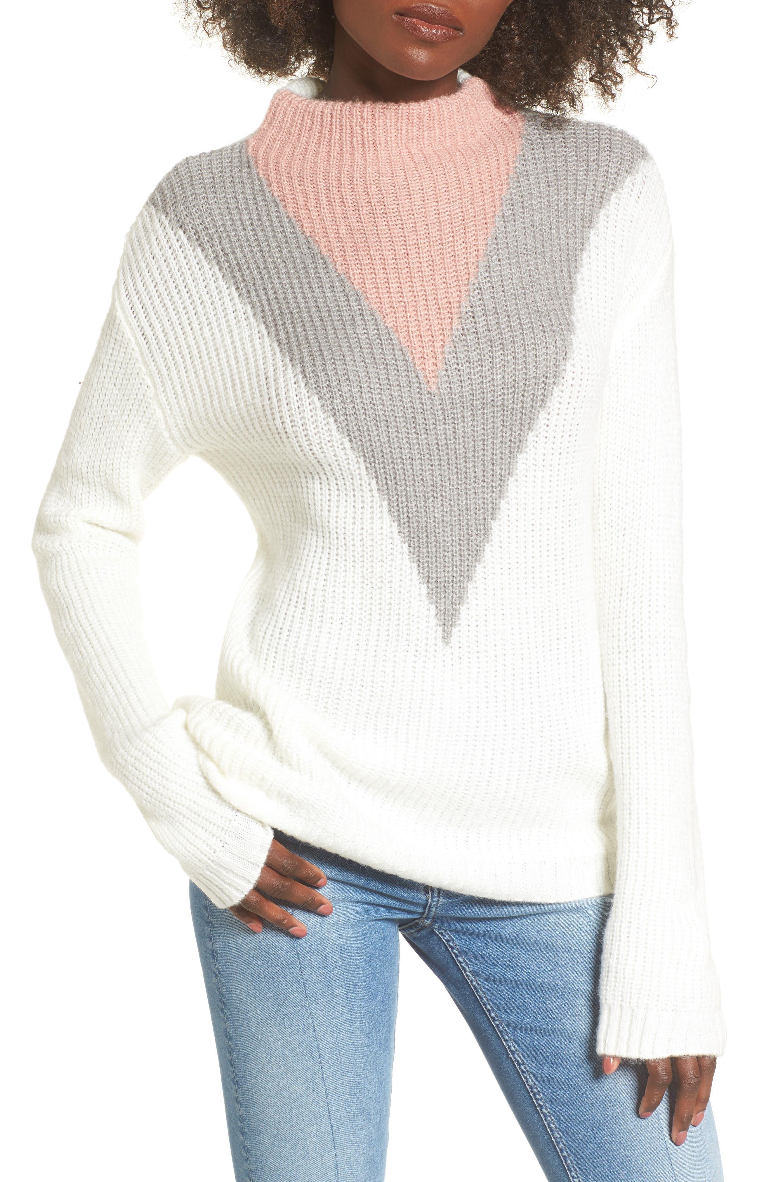 Tri-Color Après Ski Sweater,                         Main,                         color, Ivory