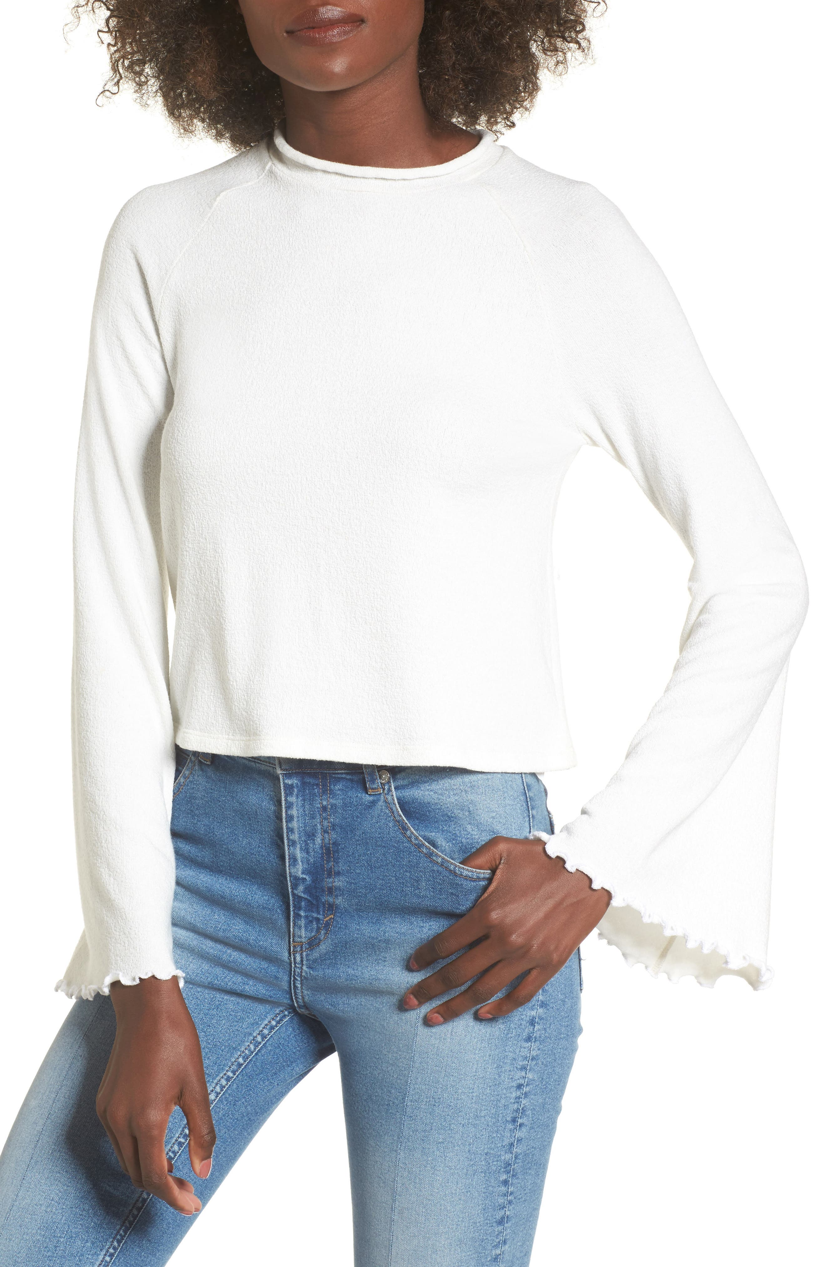 Knit Bell Sleeve Top,                         Main,                         color, White