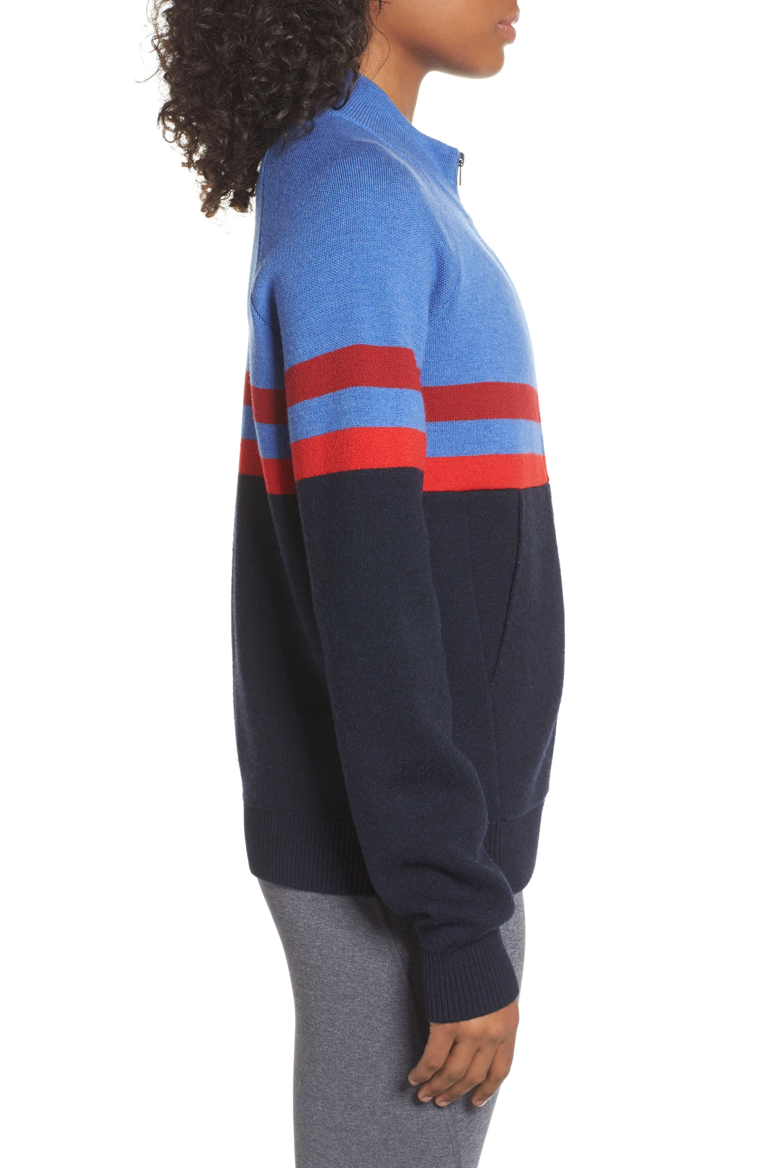 Merino Wool Zip Jacket,                             Alternate thumbnail 3, color,                             Sky Blue