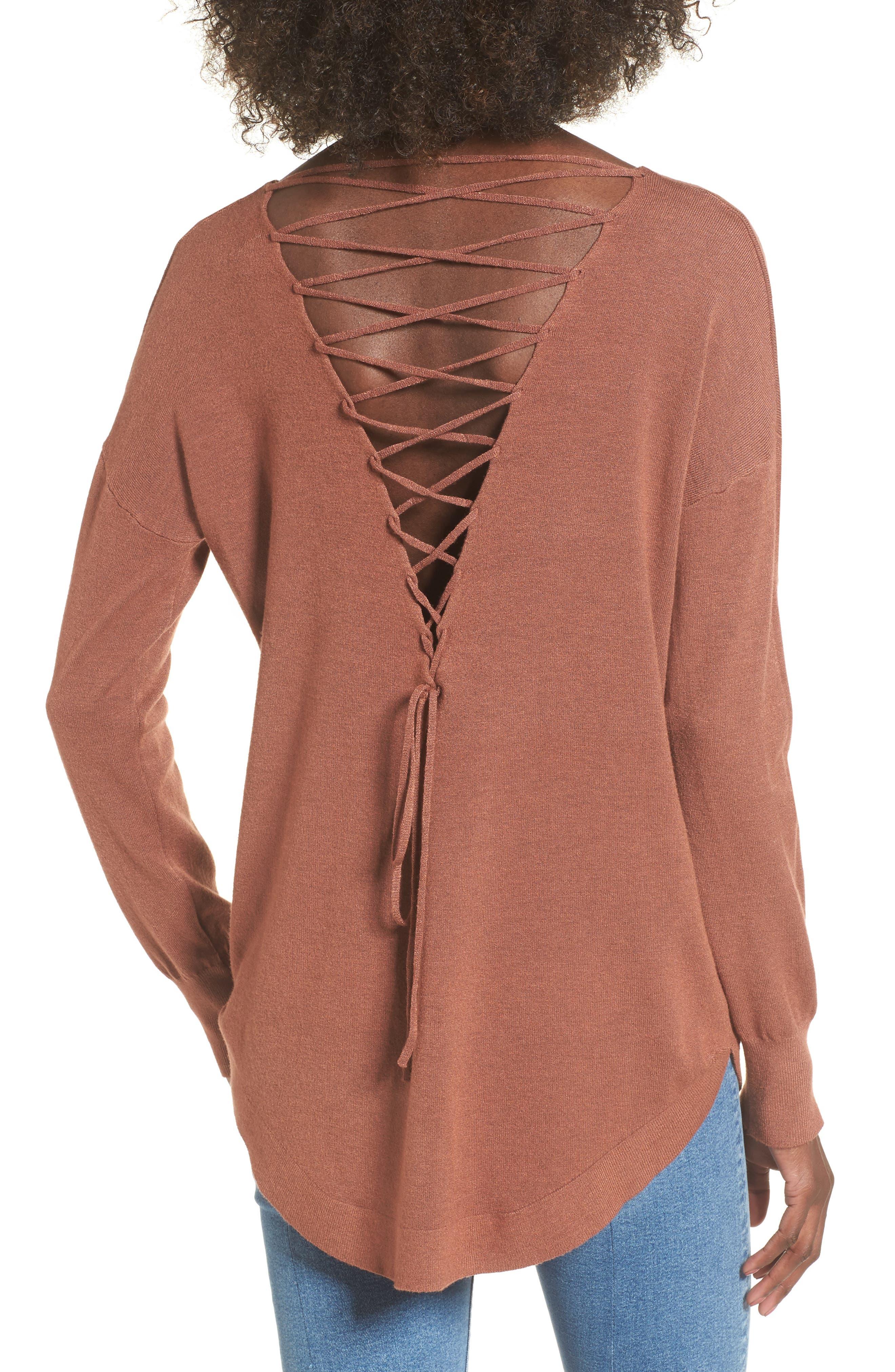 Laced Up V-Back Sweater,                             Alternate thumbnail 2, color,                             Ginger