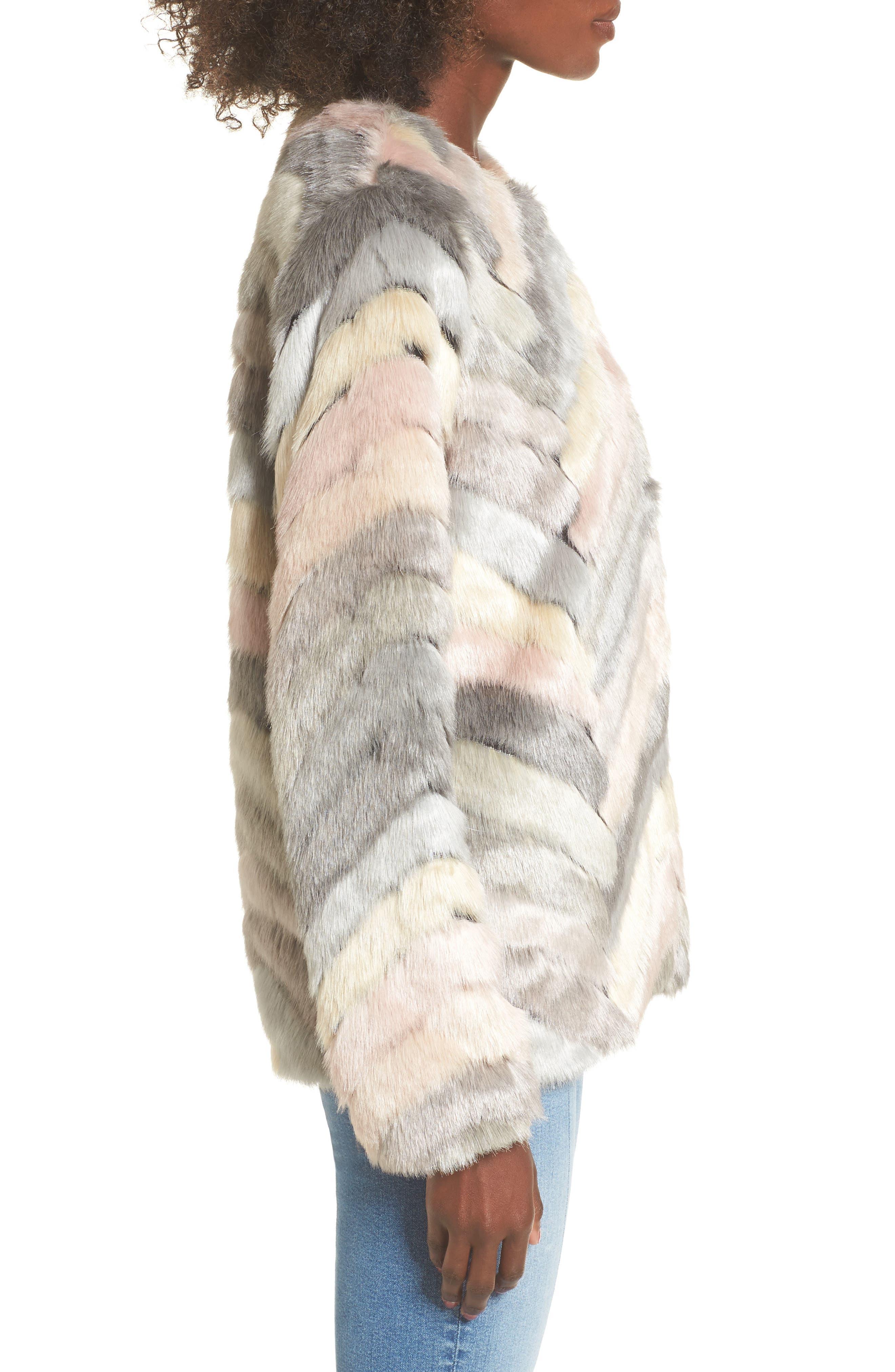 Voila Faux Fur Jacket,                             Alternate thumbnail 3, color,                             Multi
