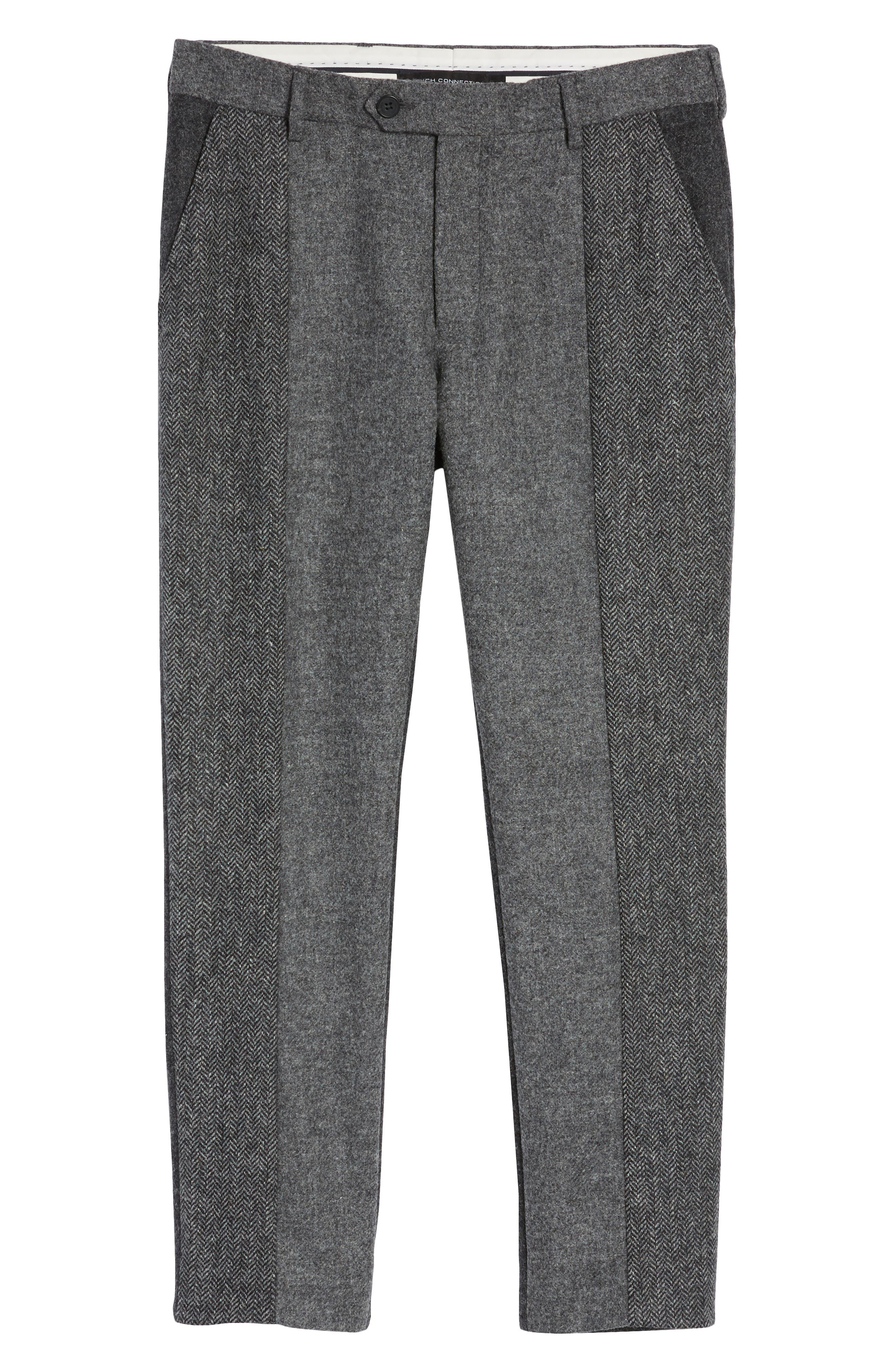 Patchwork Wool Trousers,                             Alternate thumbnail 6, color,                             Grey Melange