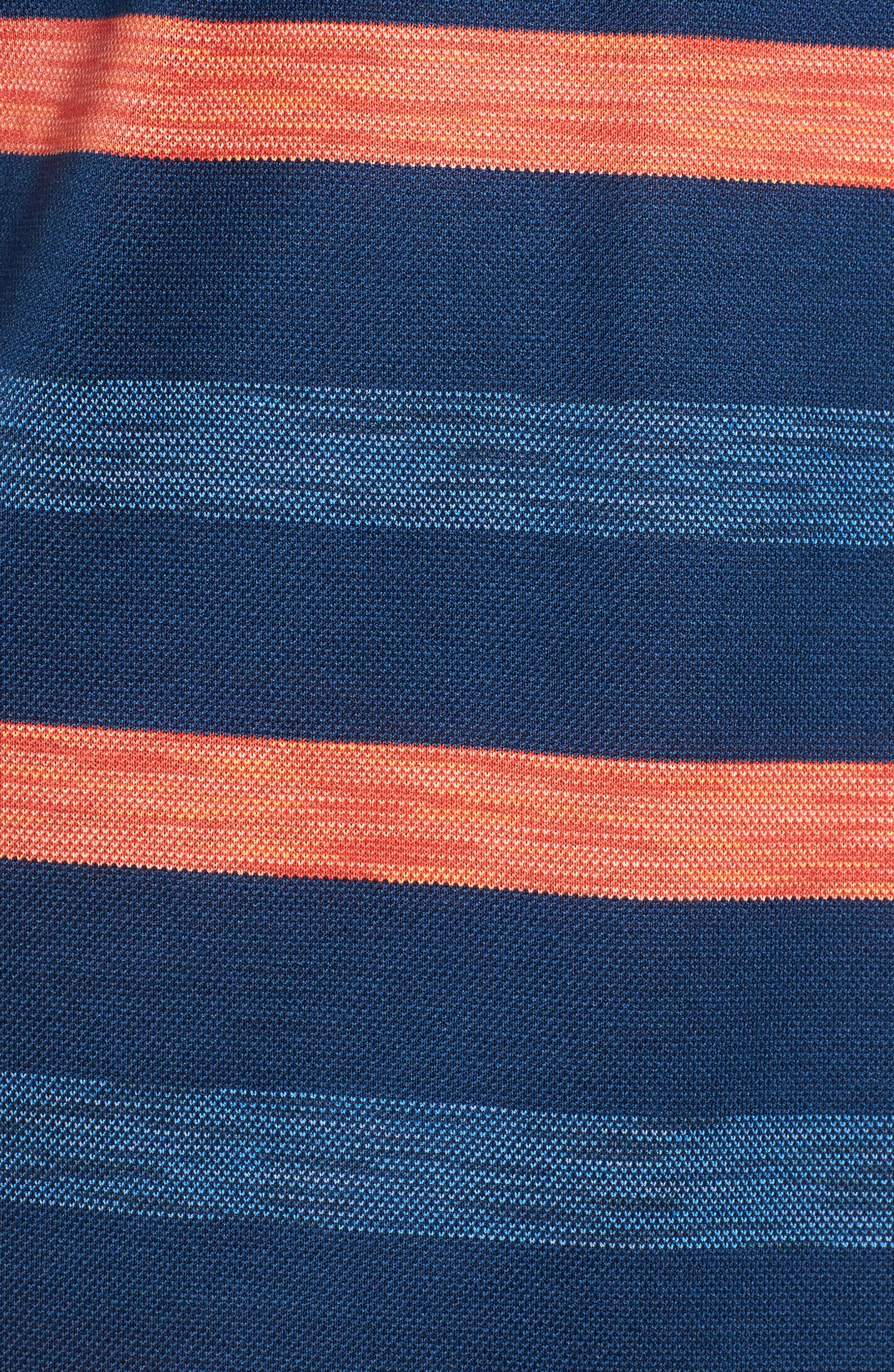 Paul&Shark Stripe Piqué Polo,                             Alternate thumbnail 5, color,                             Blue/ Orange