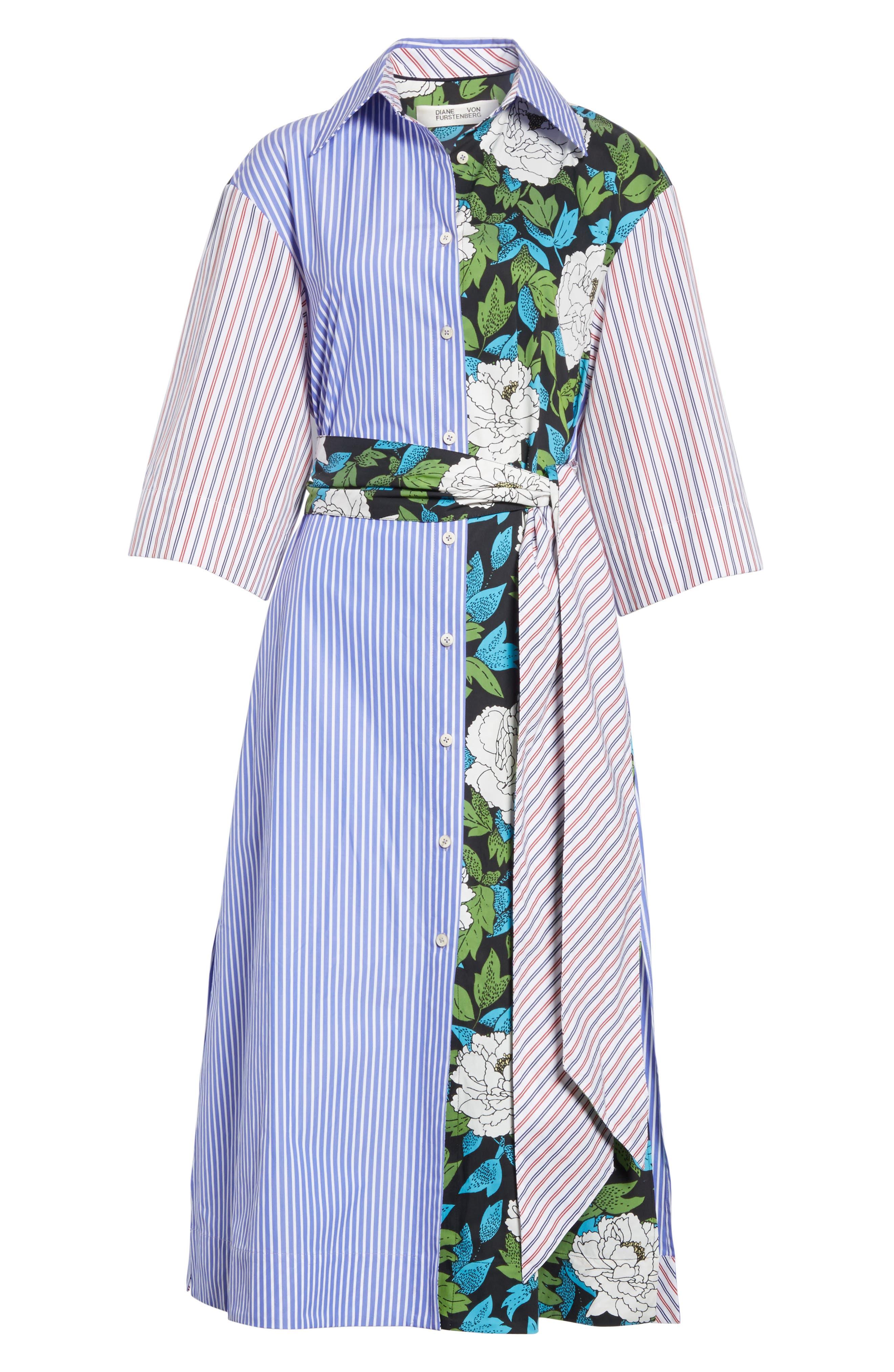 Diane von Furstenberg Mixed Print Cotton Shirtdress,                             Alternate thumbnail 6, color,                             Blue White Wide Stripe