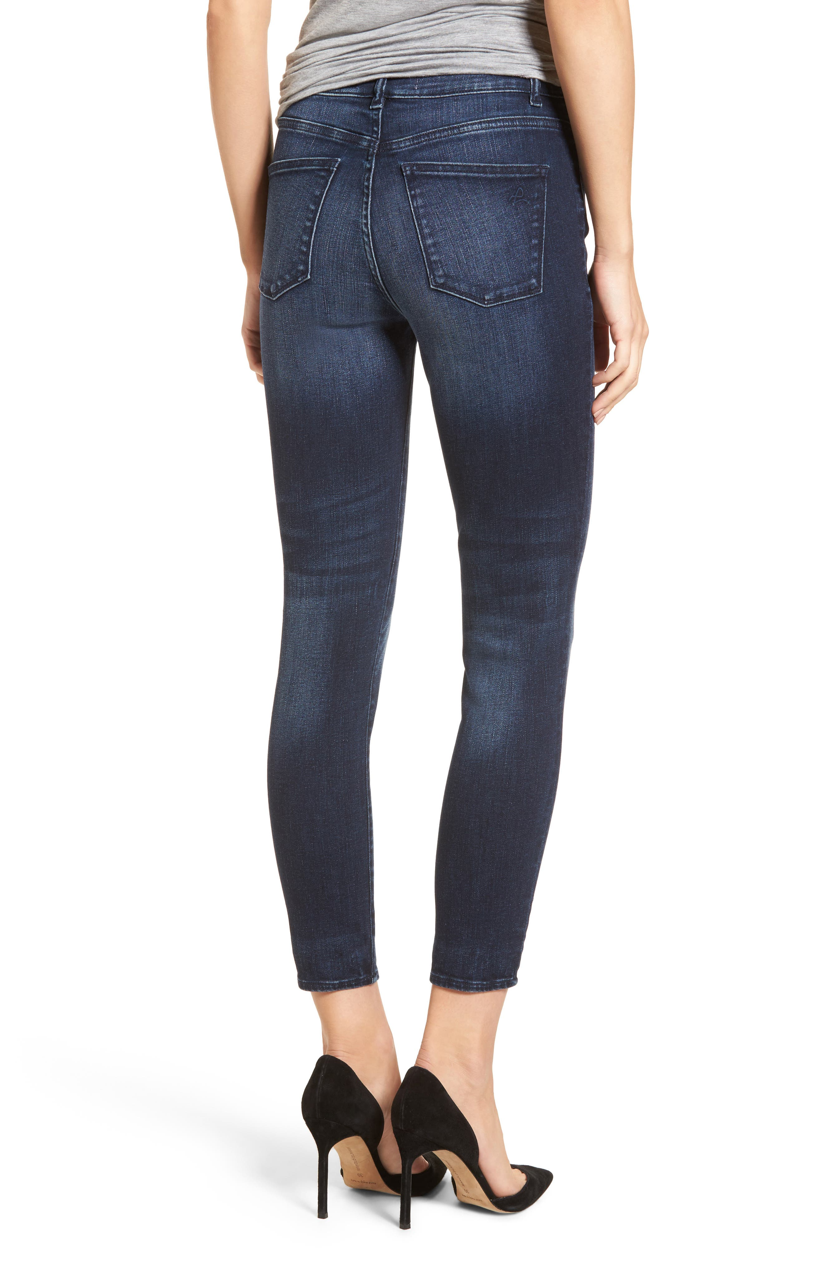 Carlie High Waist Ankle Skinny Jeans,                             Alternate thumbnail 2, color,                             Spritz