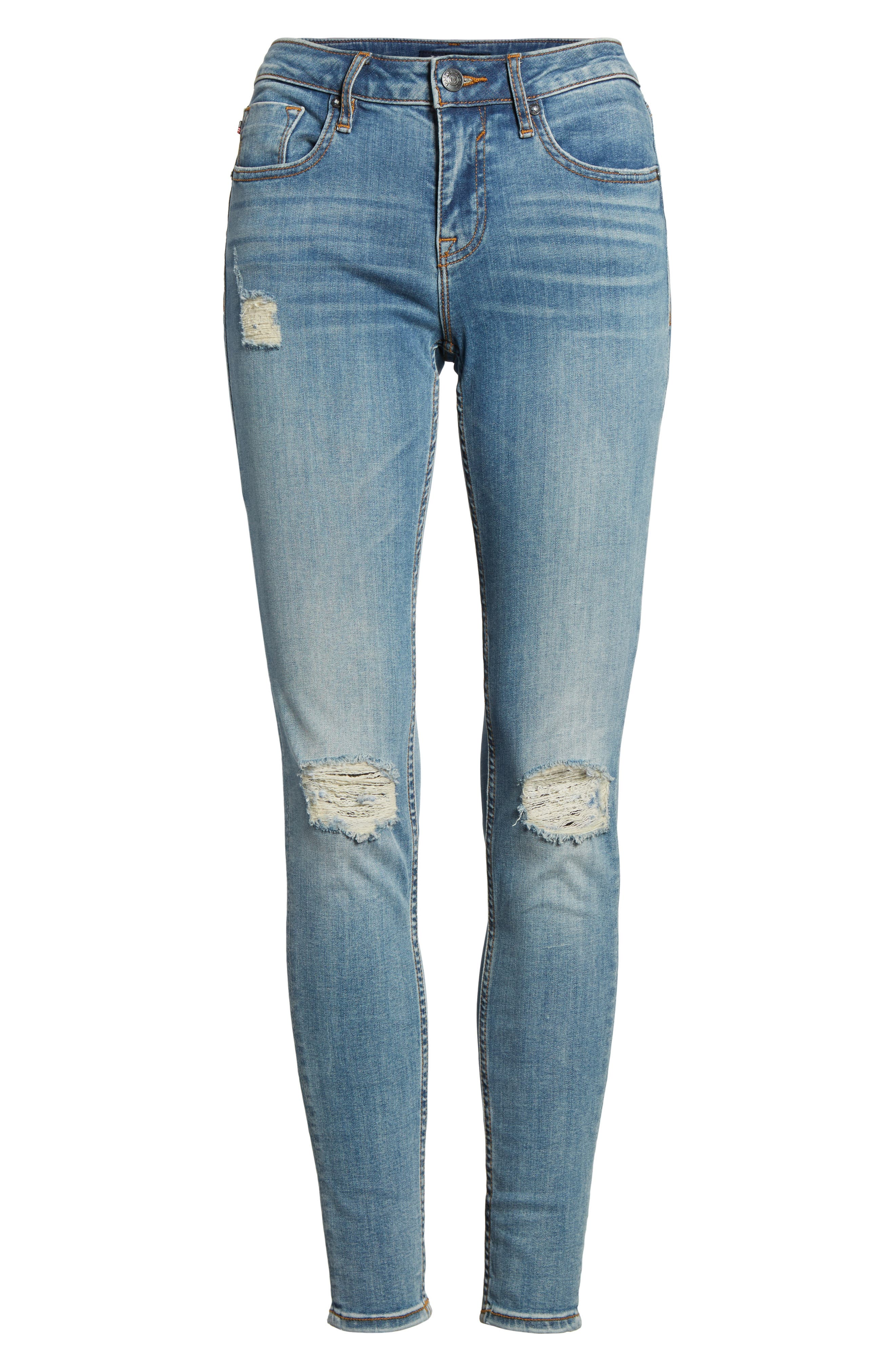 Edie Distressed Skinny Jeans,                             Alternate thumbnail 6, color,                             Light Wash