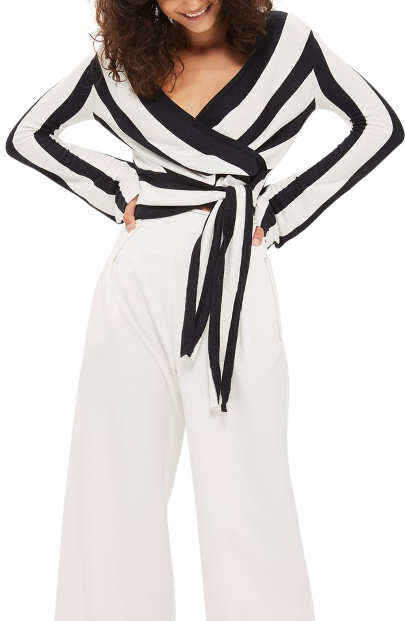Main Image - Topshop Stripe Knit Wrap Top