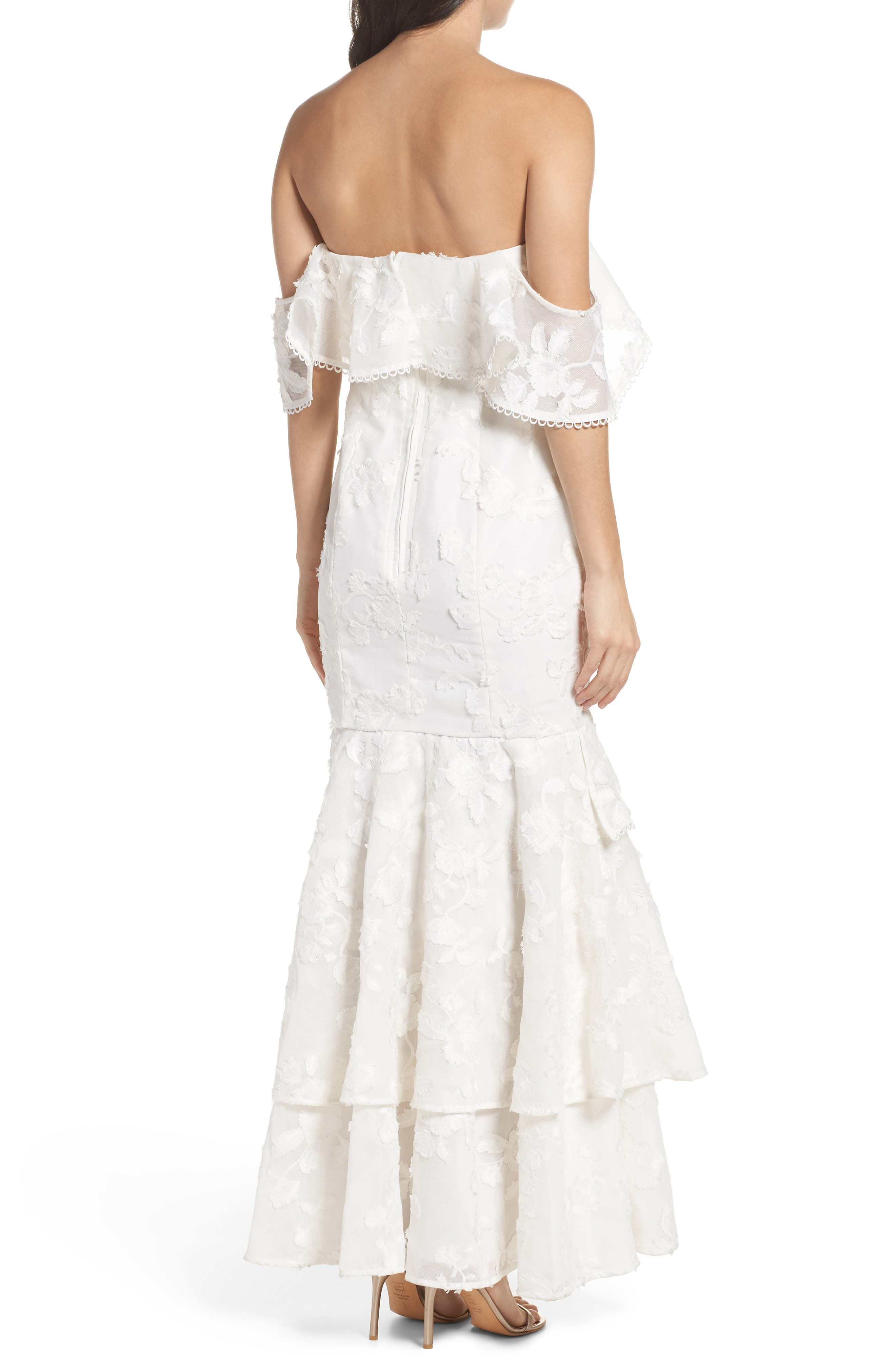 Shine Off the Shoulder Lace Gown,                             Alternate thumbnail 4, color,                             Ivory