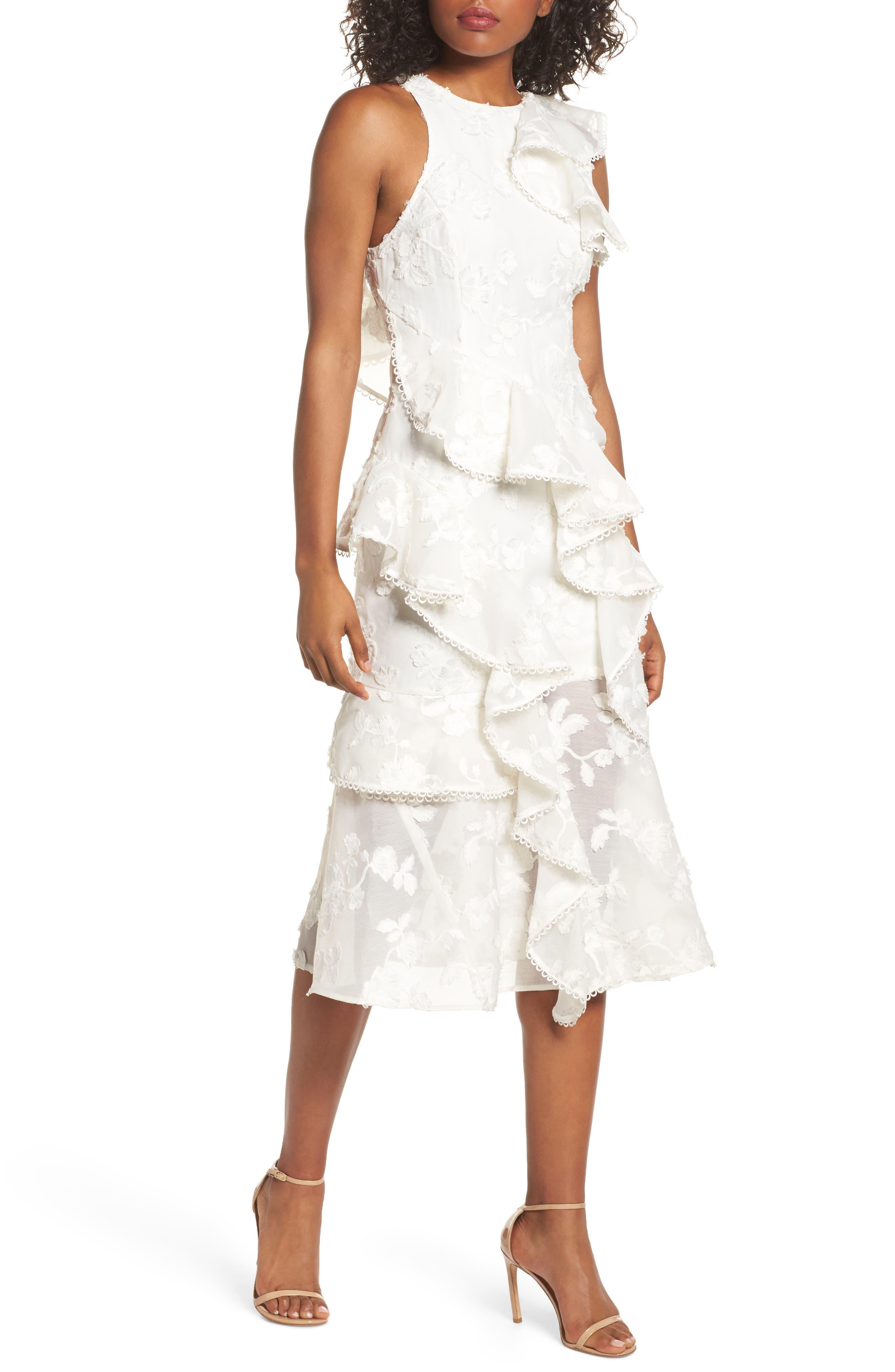 Shine Ruffle Lace Tea Length Dress,                             Main thumbnail 1, color,                             Ivory