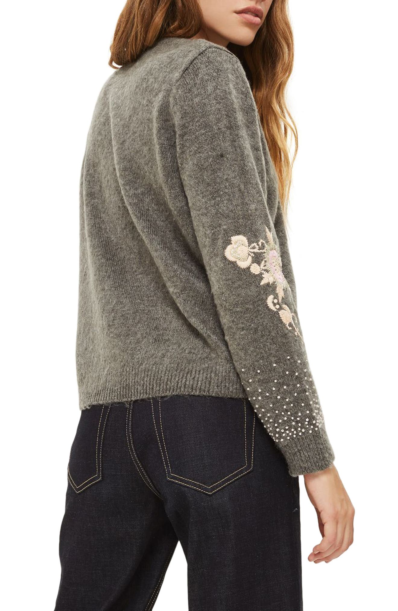 Beaded Embroidered Sweater,                             Alternate thumbnail 2, color,                             Grey Marl Multi
