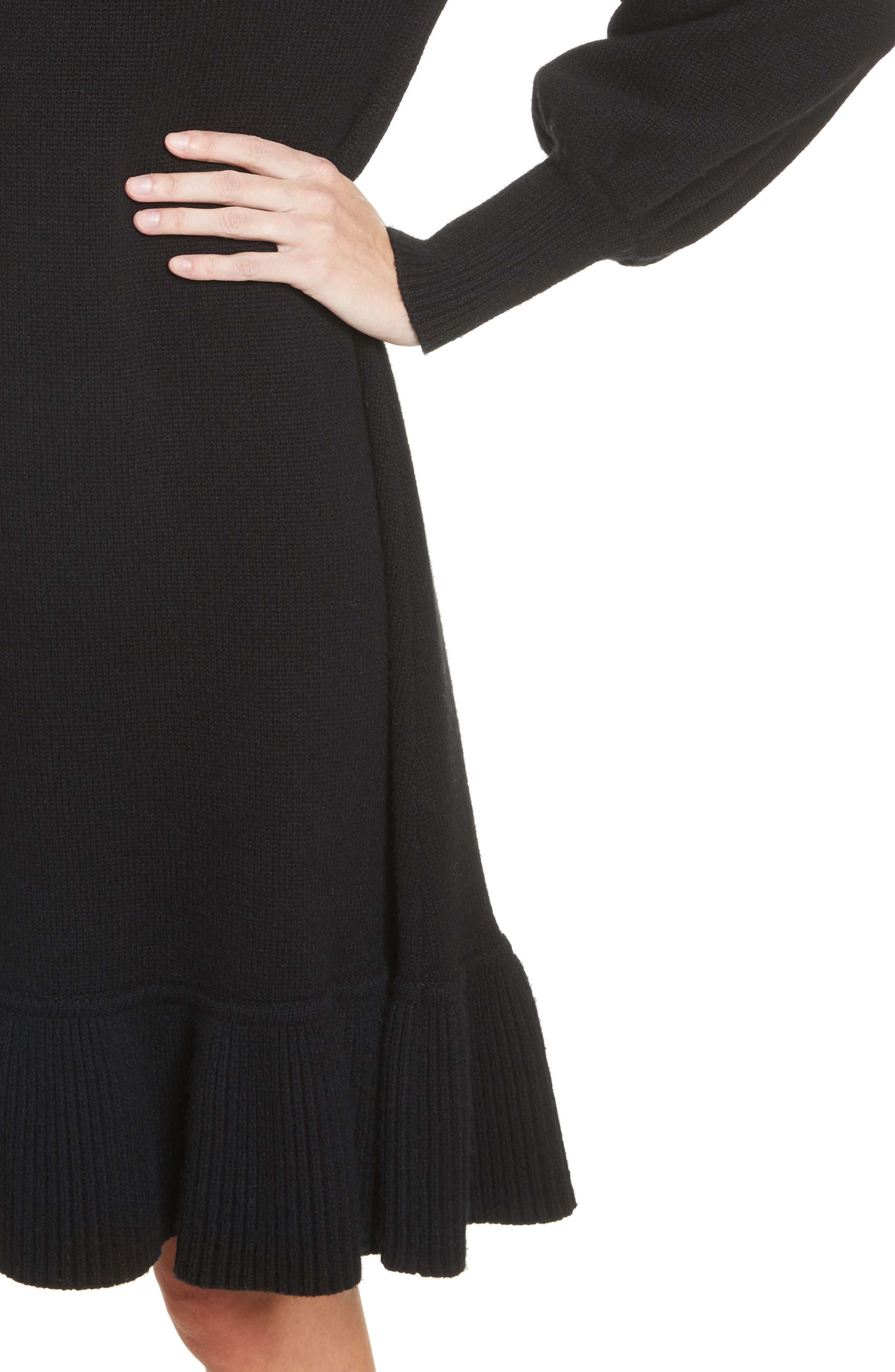 Ruffle Wool & Cashmere Sweater Dress,                             Alternate thumbnail 4, color,                             Black