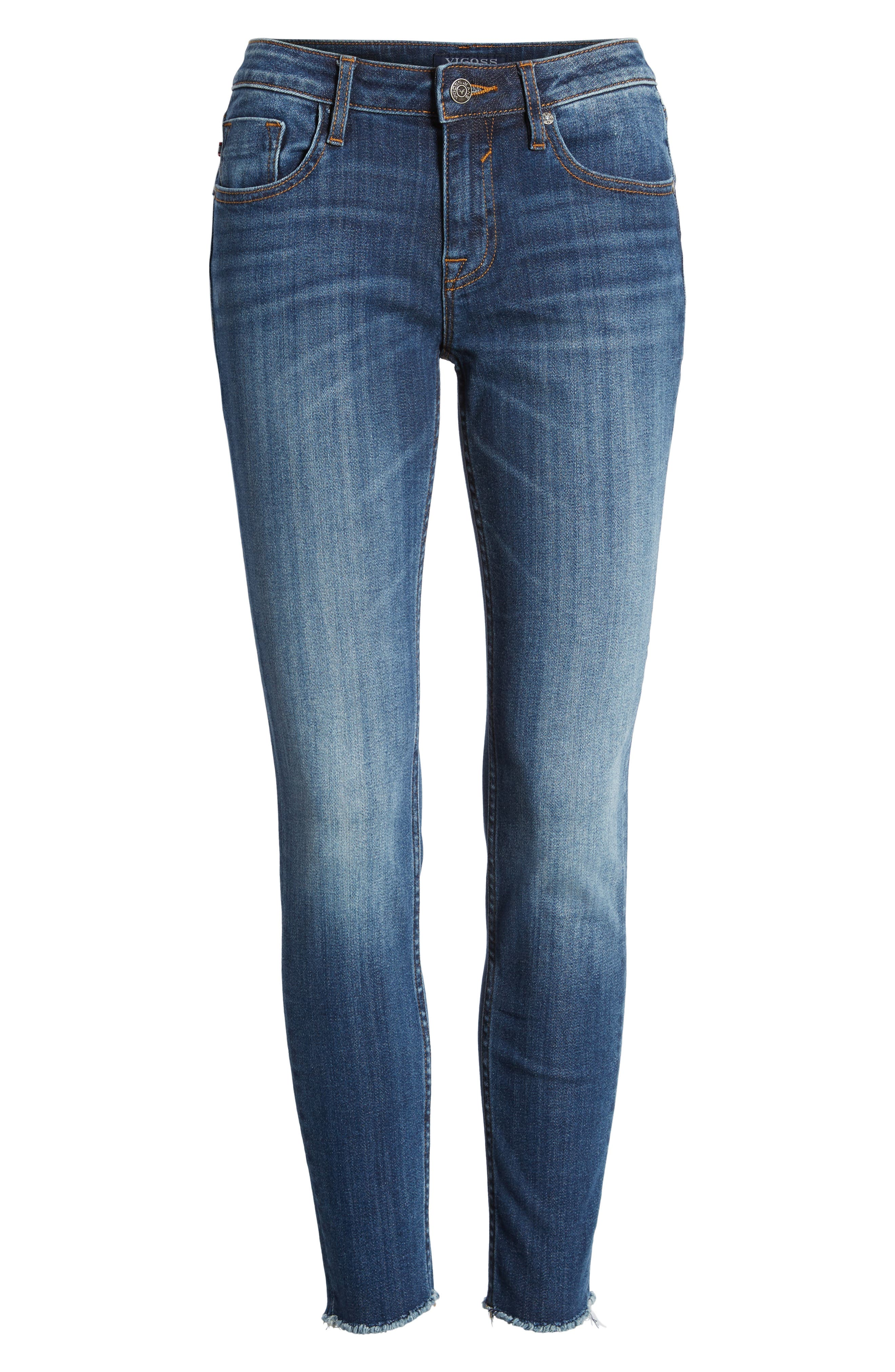Jagger Mid-Rise Skinny Jeans,                             Alternate thumbnail 7, color,                             Med Wash