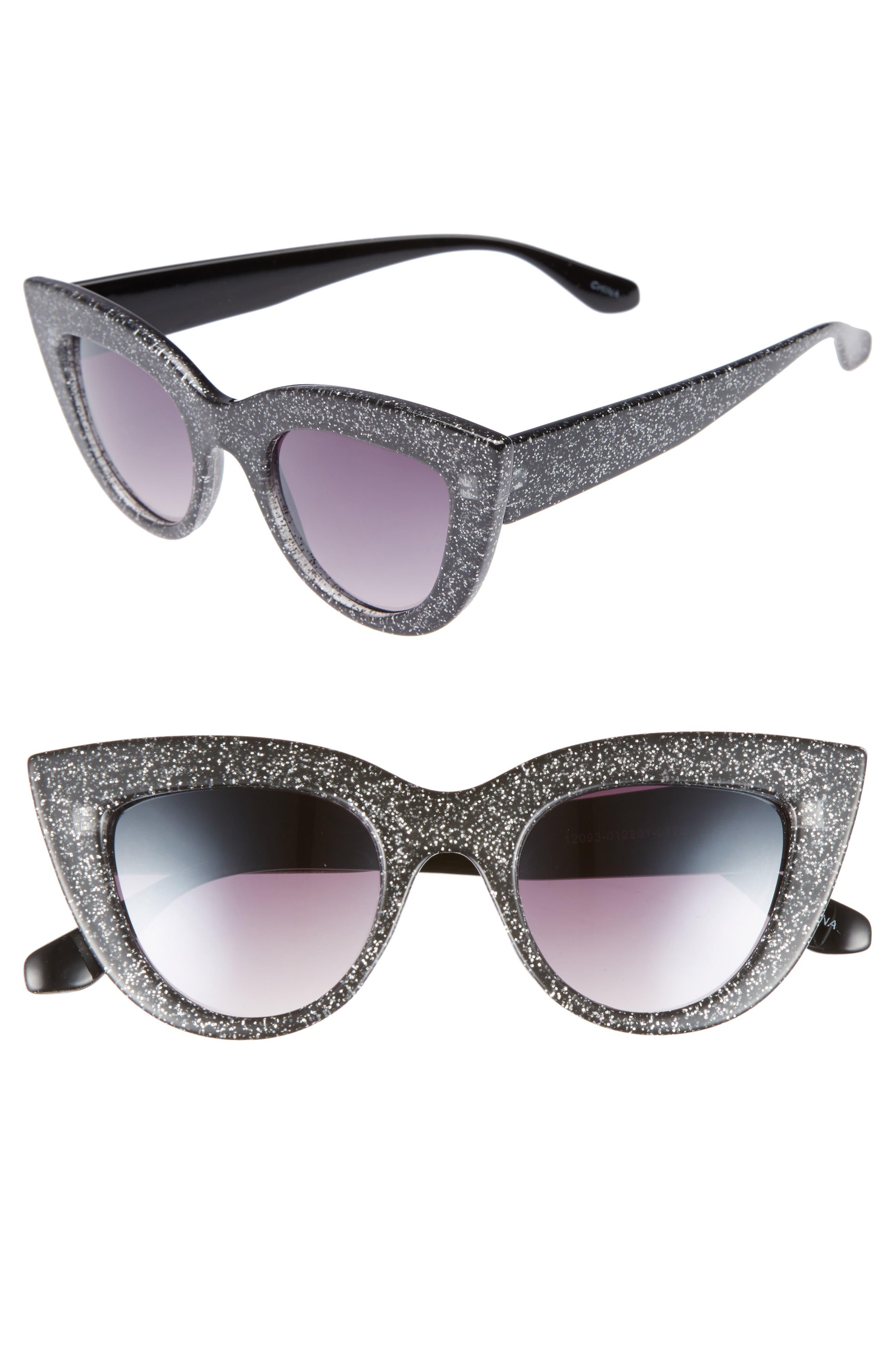 45mm Glitter Cat Eye Sunglasses,                             Main thumbnail 1, color,                             Black/ Silver