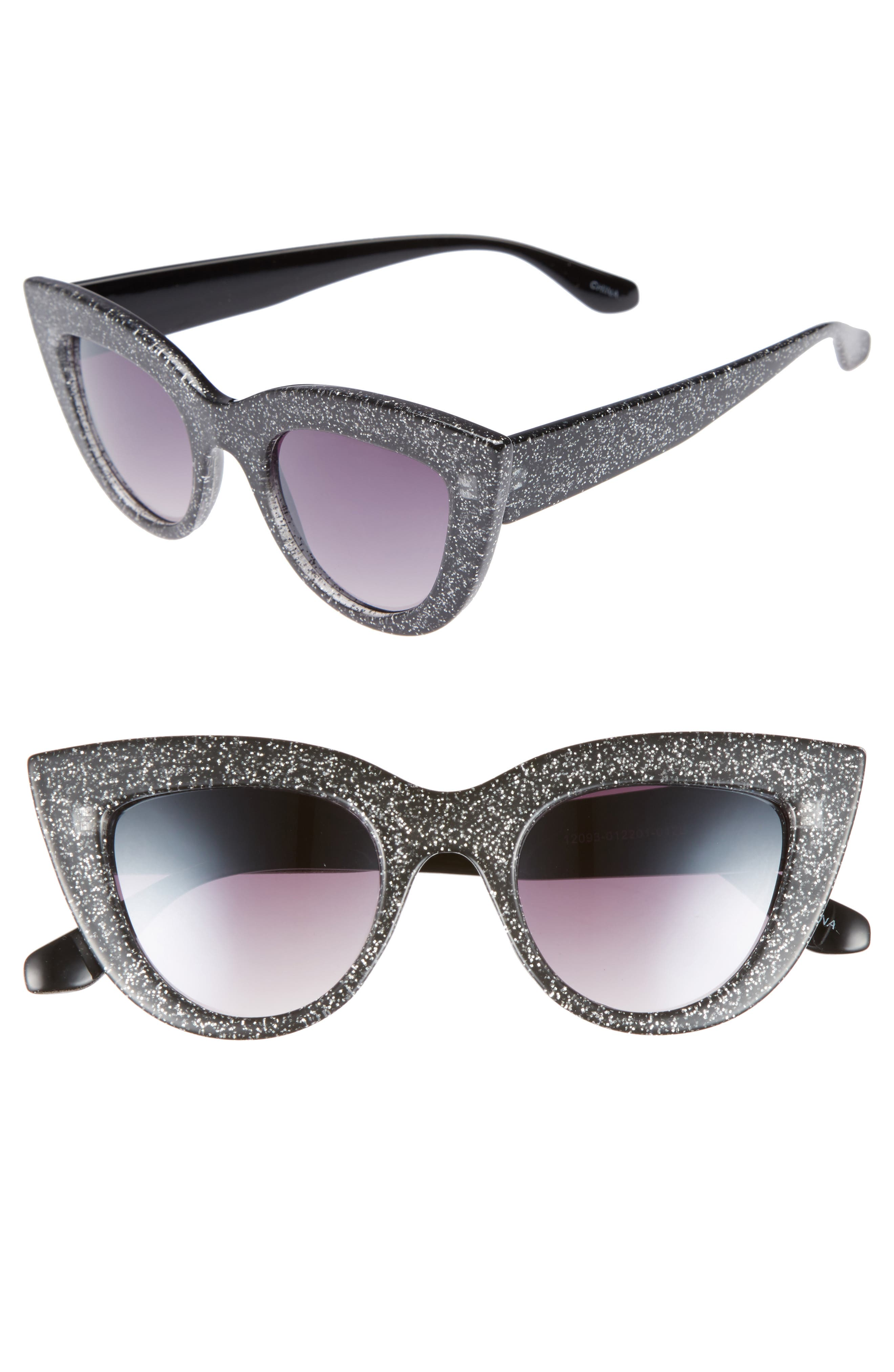 45mm Glitter Cat Eye Sunglasses,                         Main,                         color, Black/ Silver