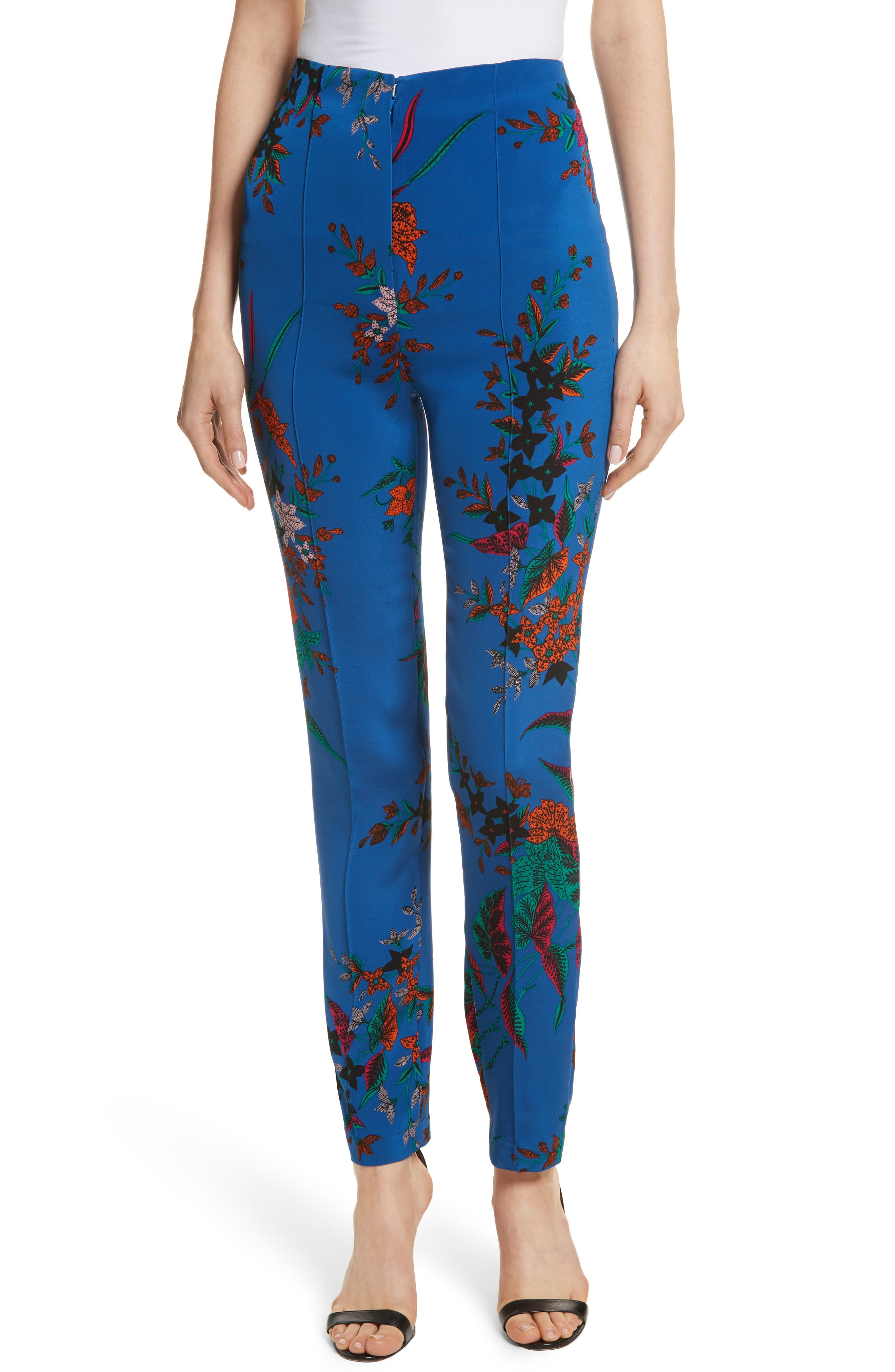 High Waist Print Skinny Pants,                             Main thumbnail 1, color,                             Camden Cove