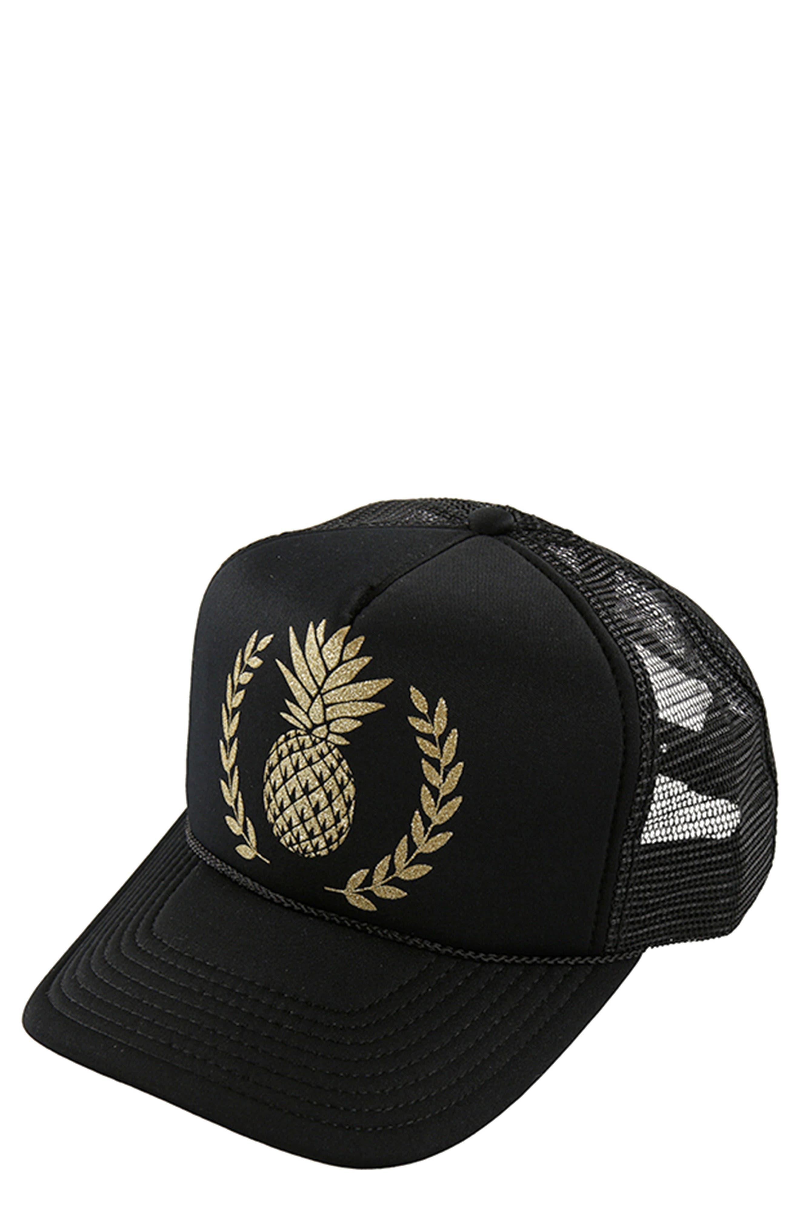 Sunshine Pineapple Trucker Hat,                         Main,                         color, Black