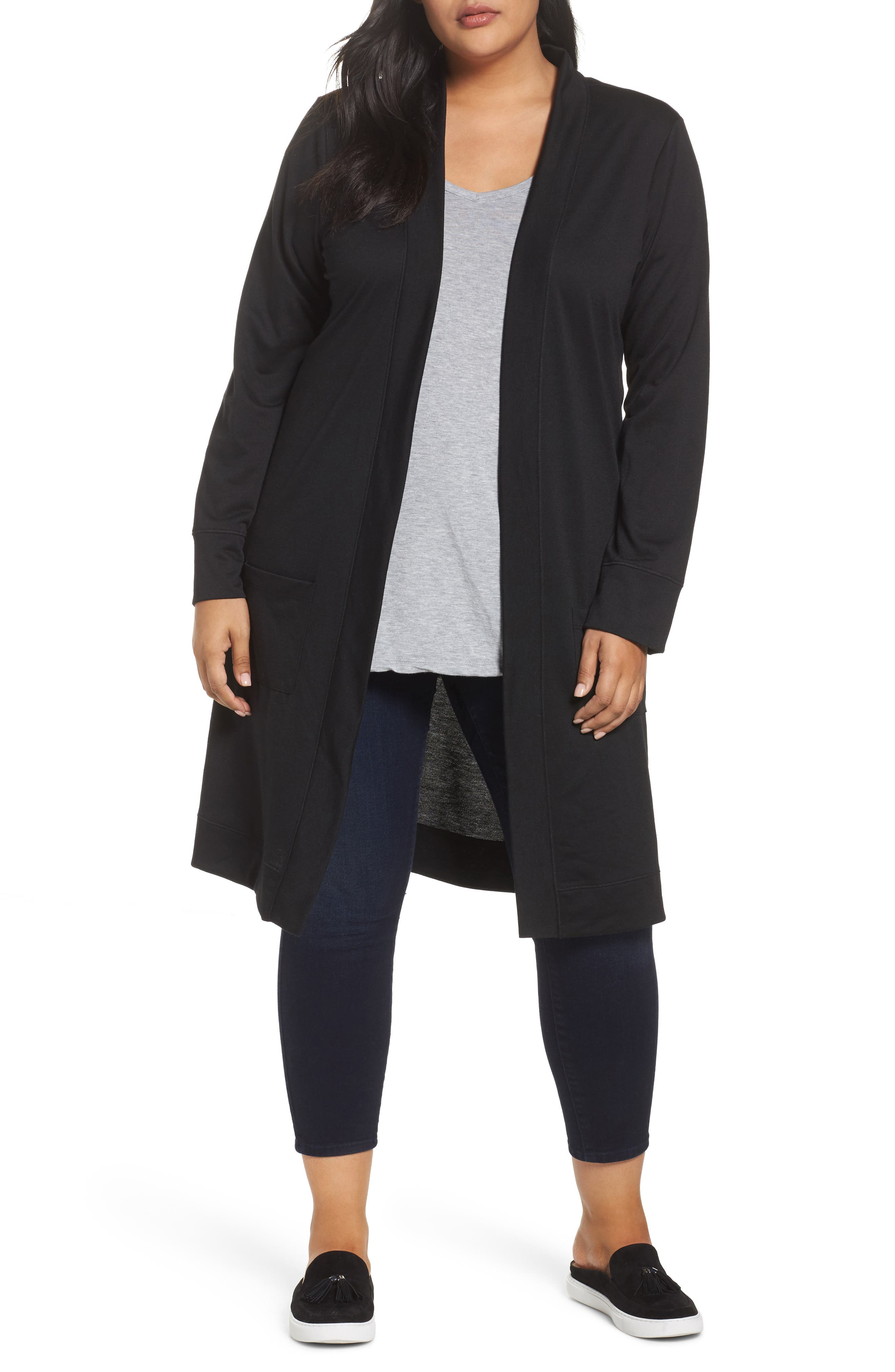 Caslon® Long French Terry Cardigan (Plus Size)