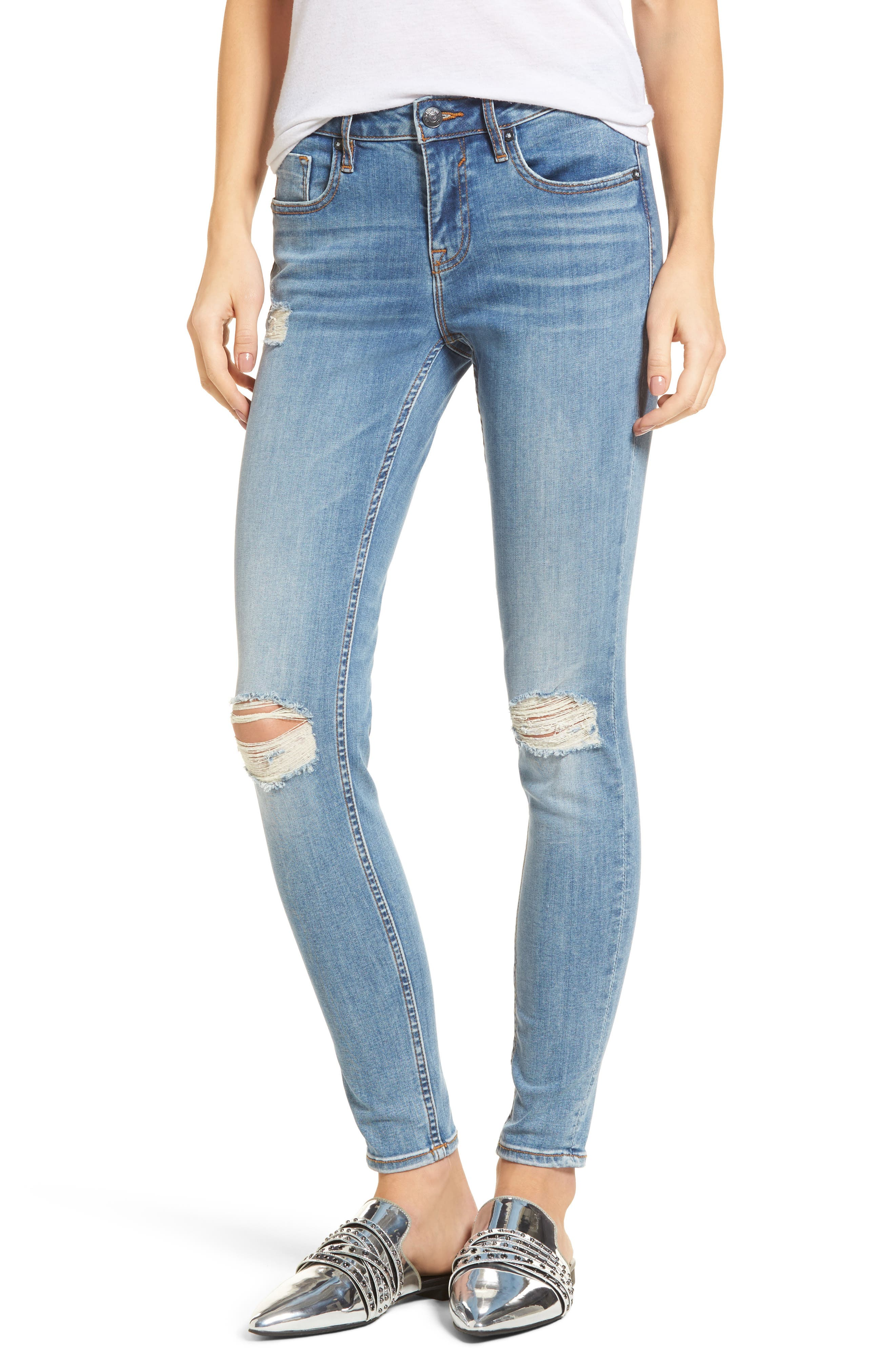 Edie Distressed Skinny Jeans,                             Main thumbnail 1, color,                             Light Wash