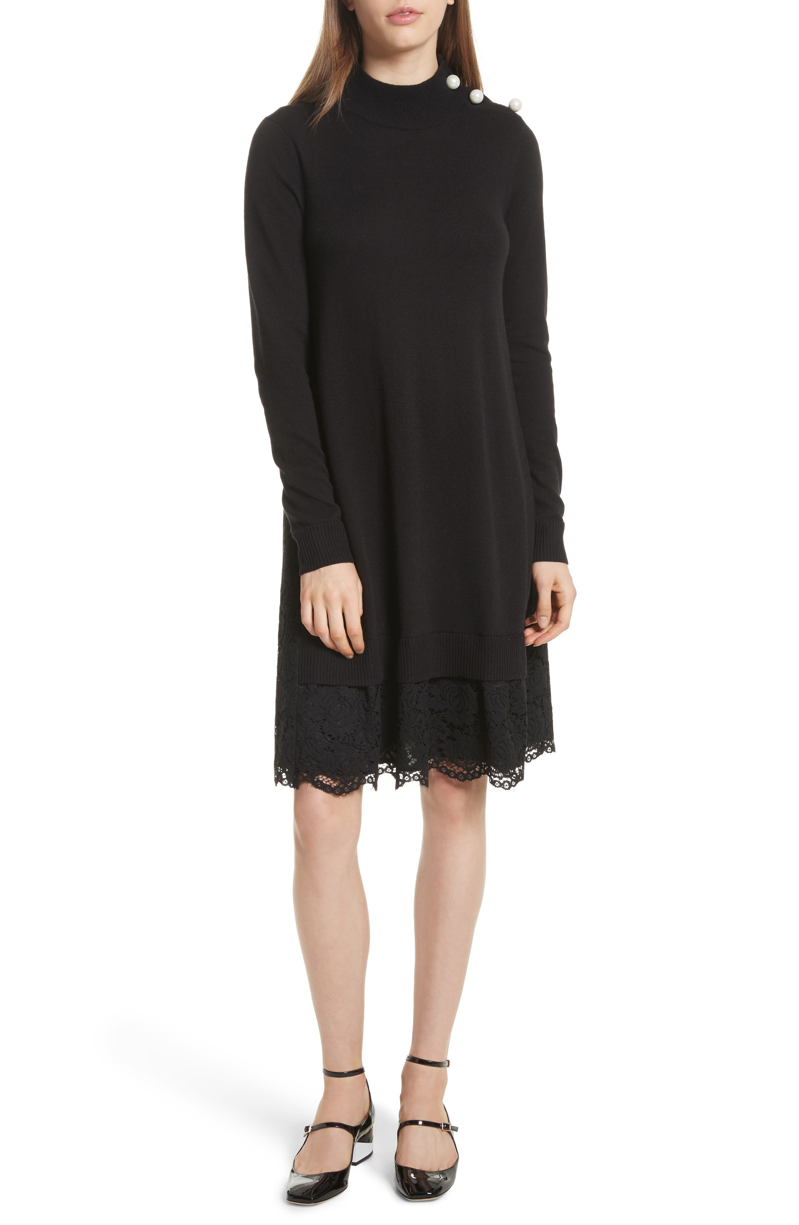 lace inset sweater dress,                         Main,                         color, Black