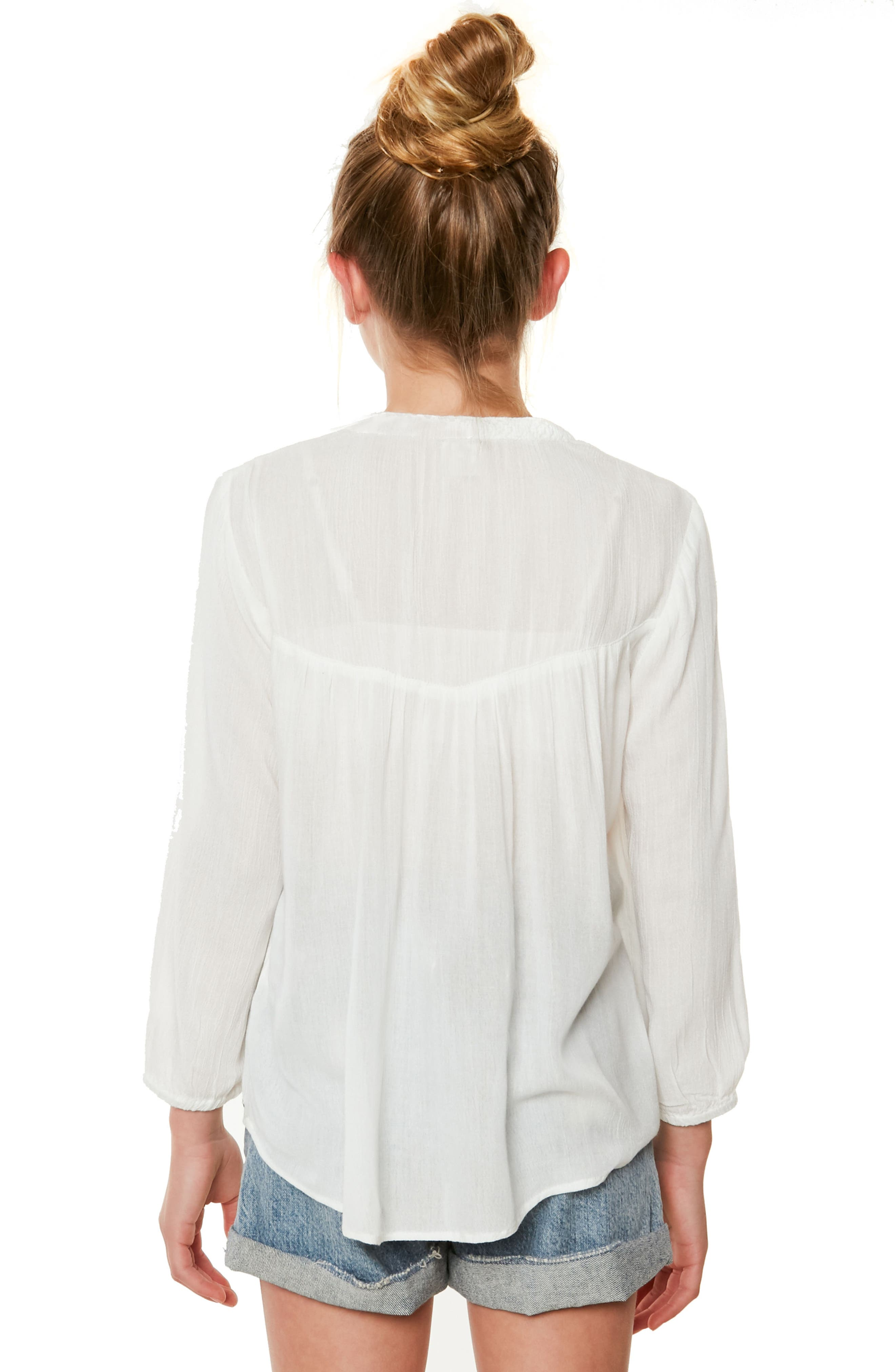 Marion Embroidered Peasant Top,                             Alternate thumbnail 4, color,                             Naked