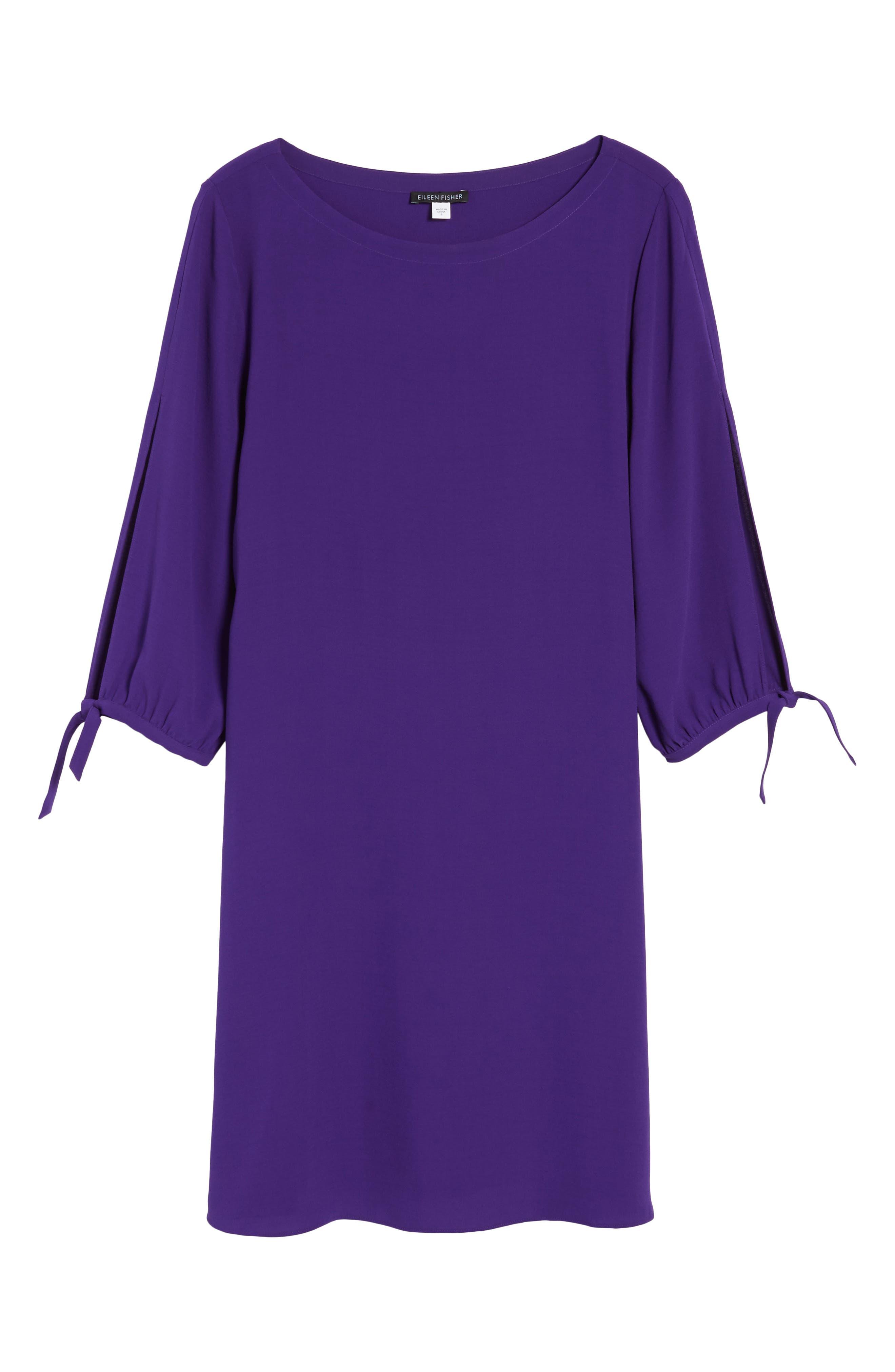 Silk Shift Dress,                             Alternate thumbnail 6, color,                             Ultraviolet