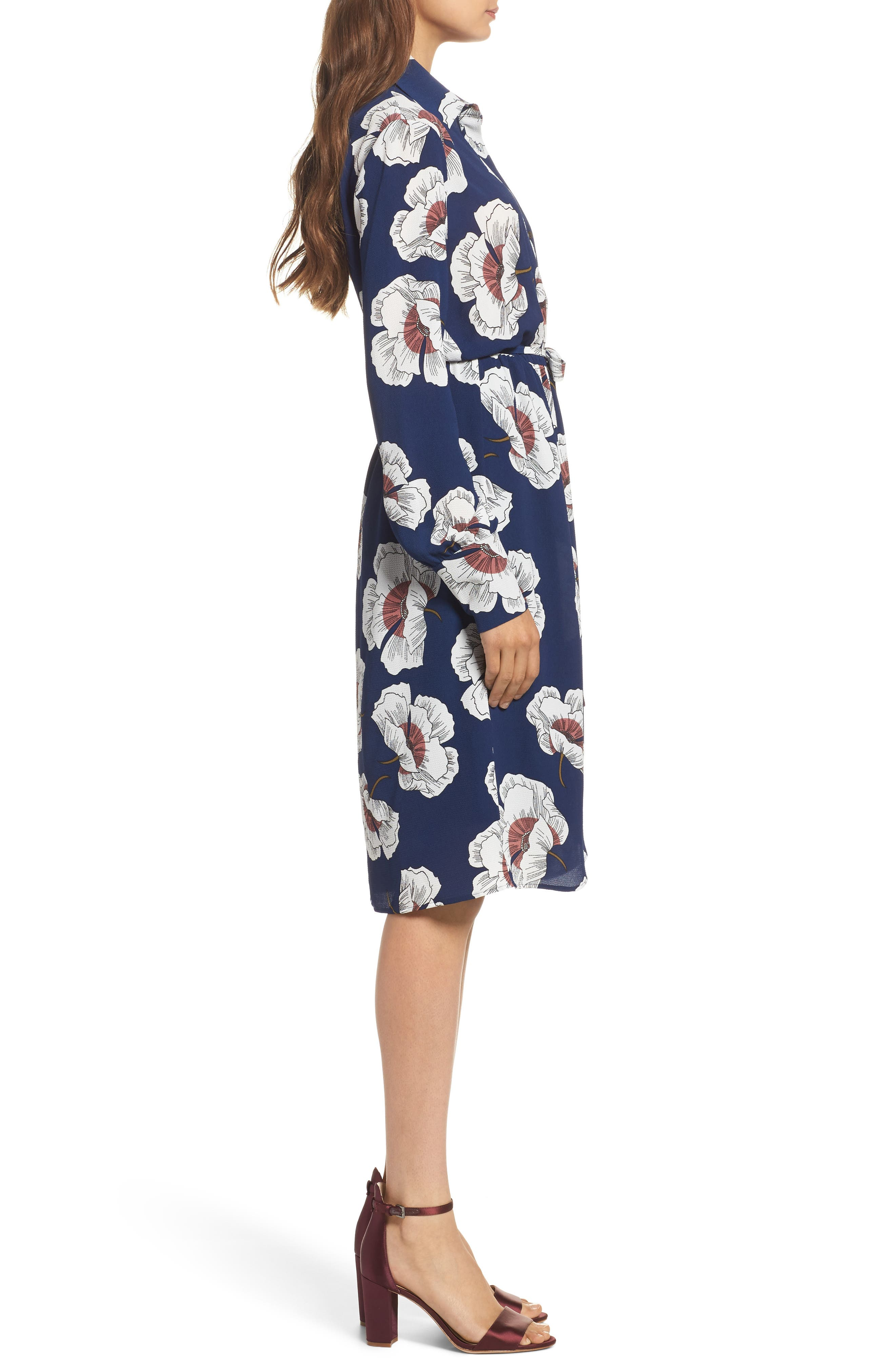 Floral Shirtdress,                             Alternate thumbnail 3, color,                             Navy Floral